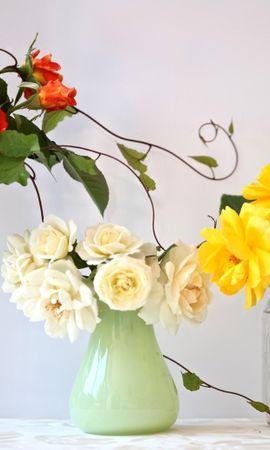 53942 скачать обои Цветы, Три, Разные, Вазы, Фужер, Розы, Букеты - заставки и картинки бесплатно