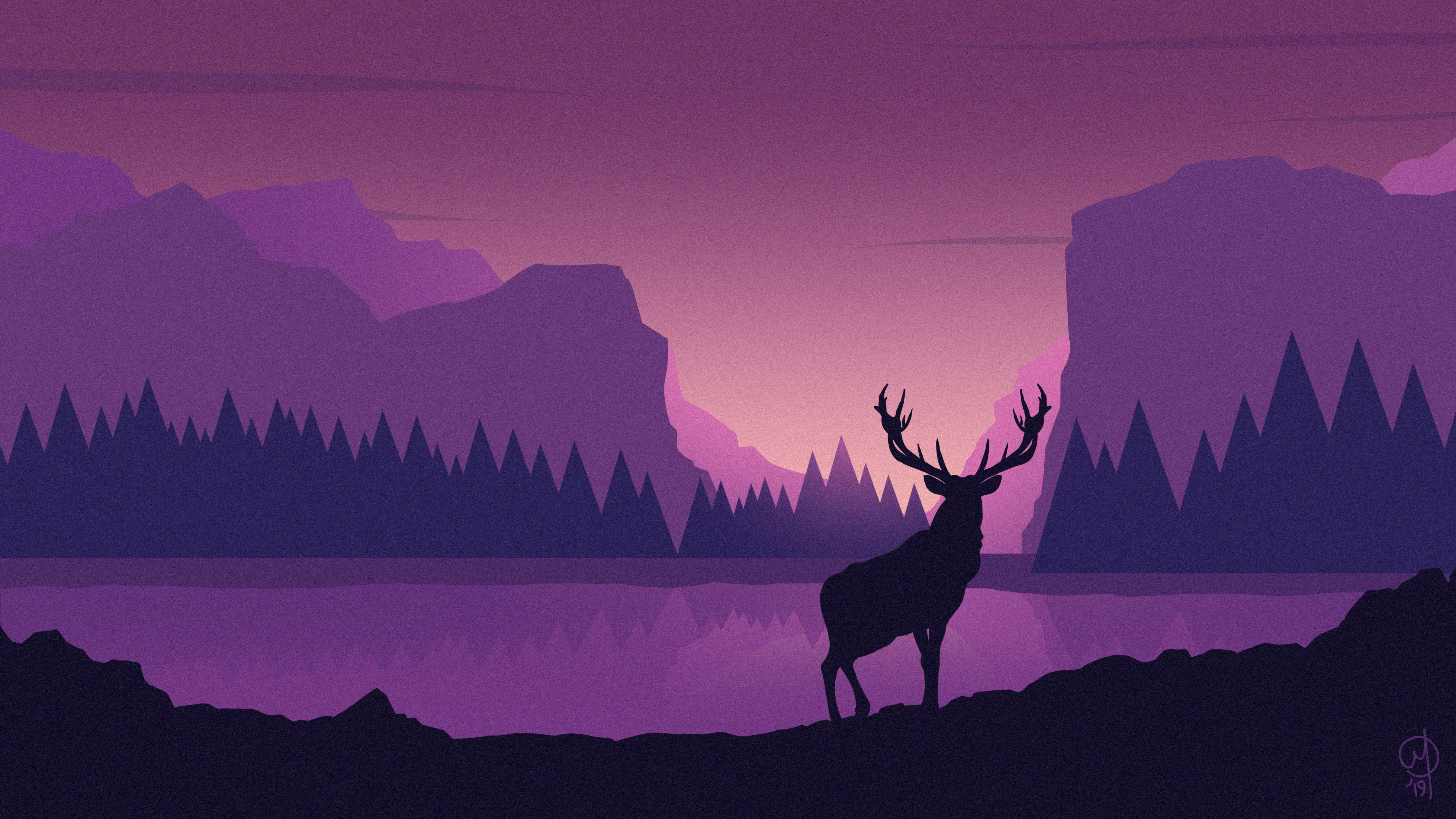 143442 Protetores de tela e papéis de parede Montanhas em seu telefone. Baixe Vetor, Paisagem, Arte, Montanhas, Veado, Cervo fotos gratuitamente