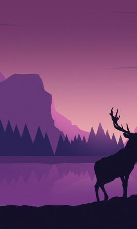 143442 télécharger le fond d'écran Vecteur, Cerf, Art, Montagnes, Paysage - économiseurs d'écran et images gratuitement