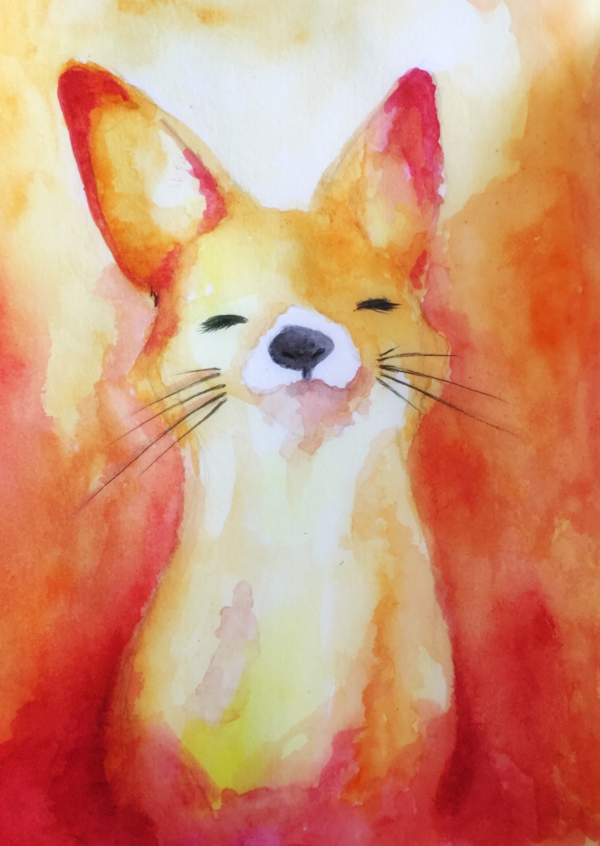 84247 download wallpaper Fox, Nice, Sweetheart, Paints, Watercolor, Art screensavers and pictures for free