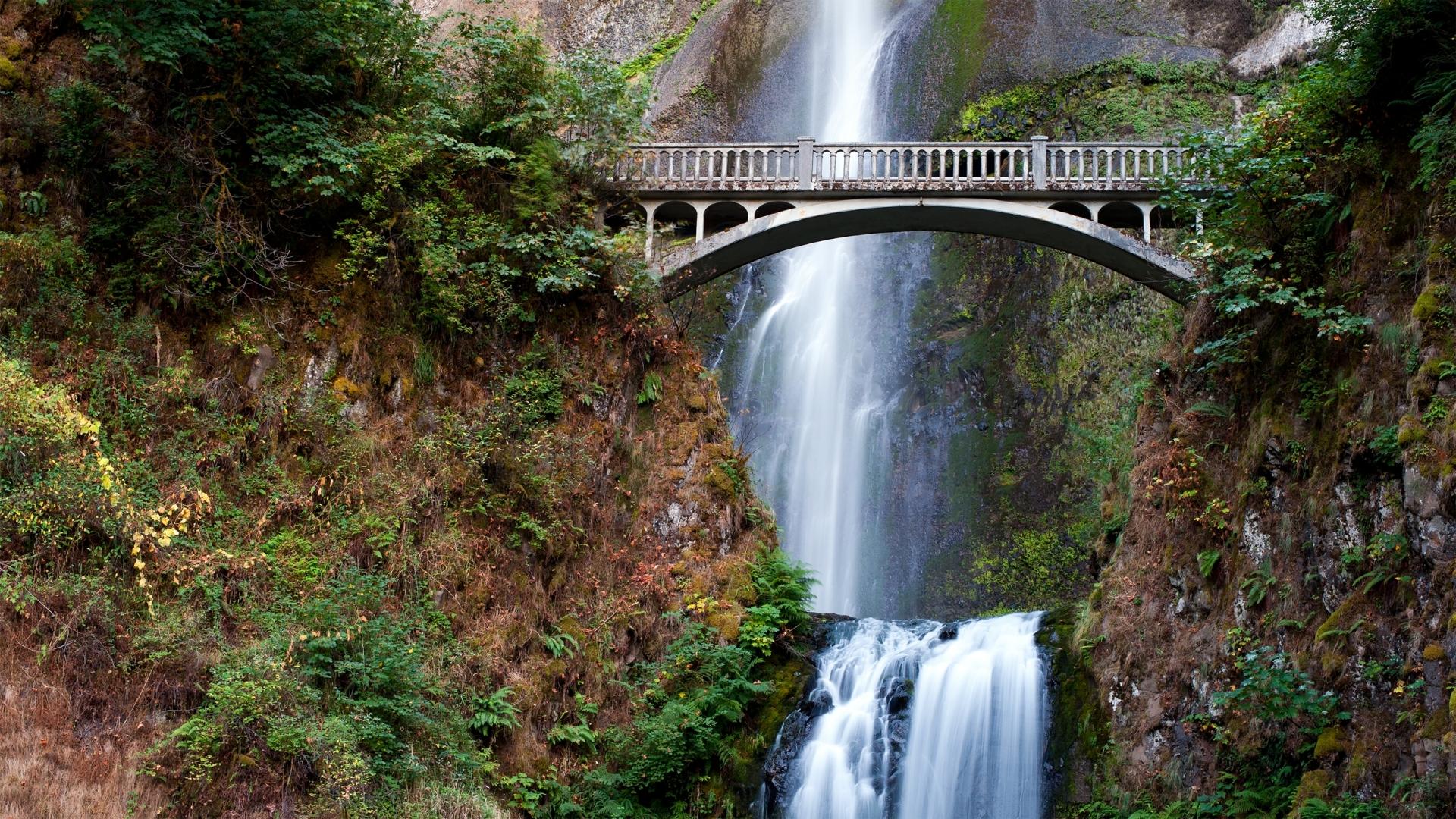 41153 скачать обои Мосты, Водопады, Пейзаж - заставки и картинки бесплатно