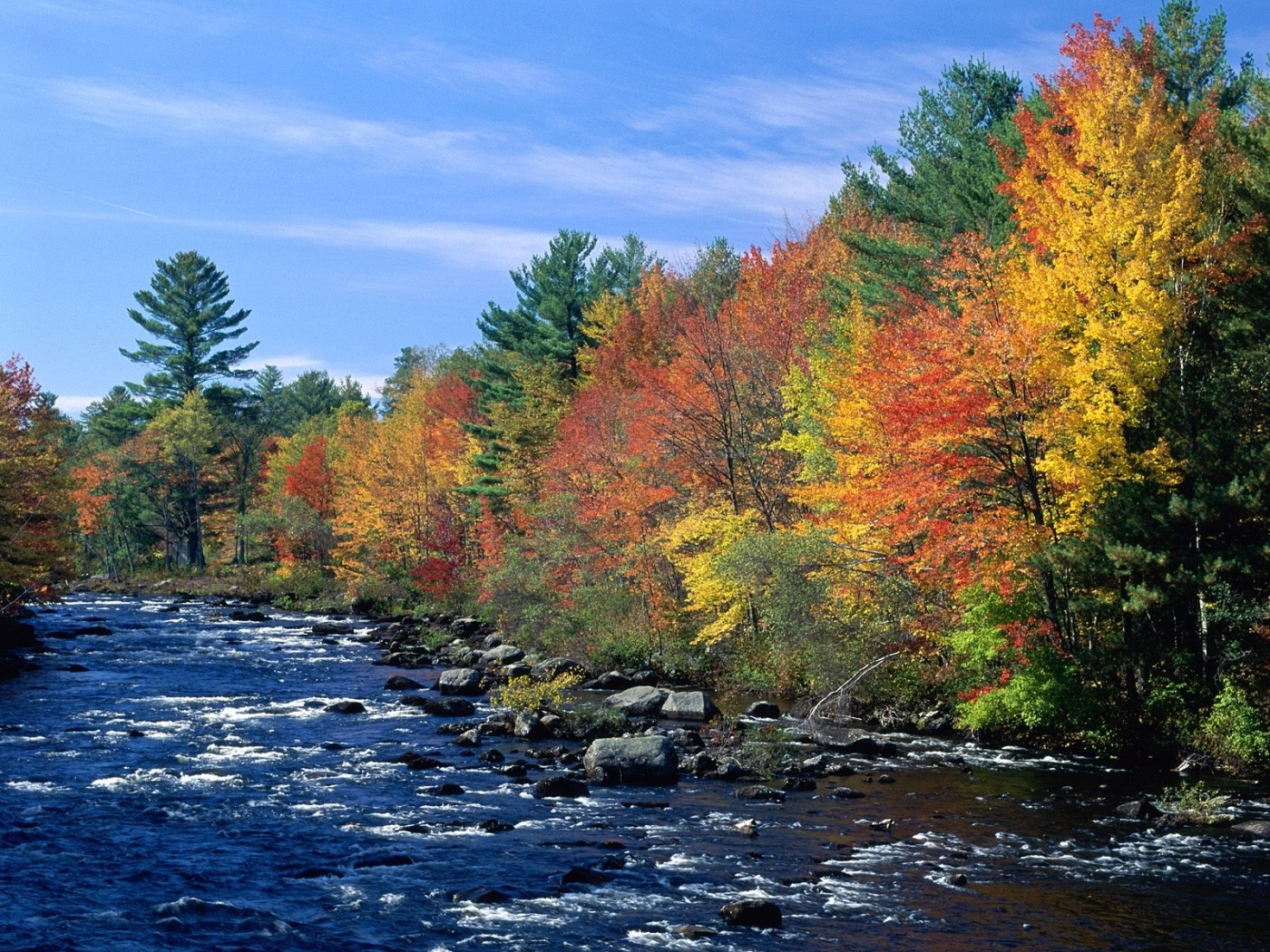 26709 download wallpaper Landscape, Rivers, Trees, Autumn screensavers and pictures for free