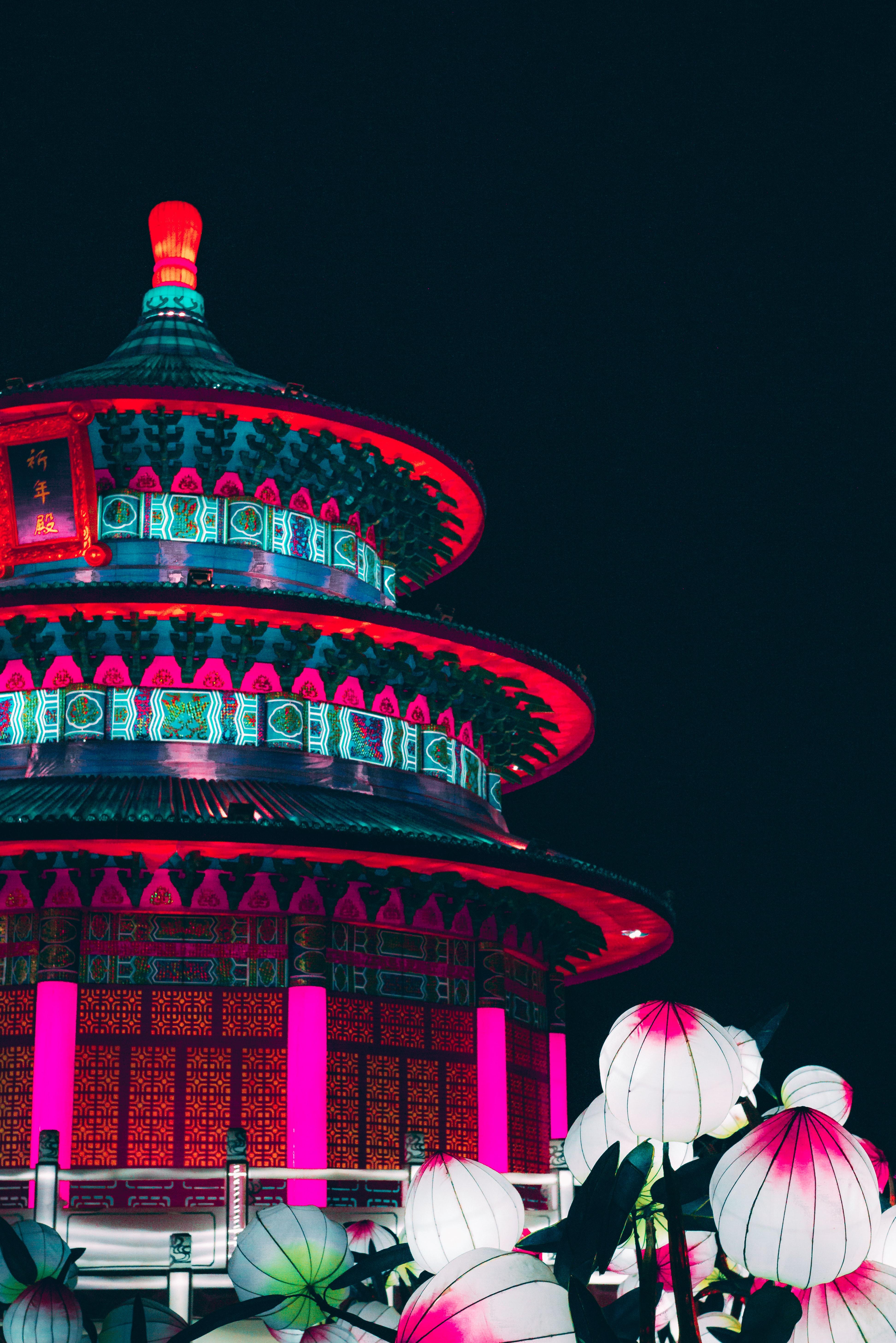 144363壁紙のダウンロード建物, 構造, 中国, 提灯, ライト, アーキテクチャ, 都市-スクリーンセーバーと写真を無料で