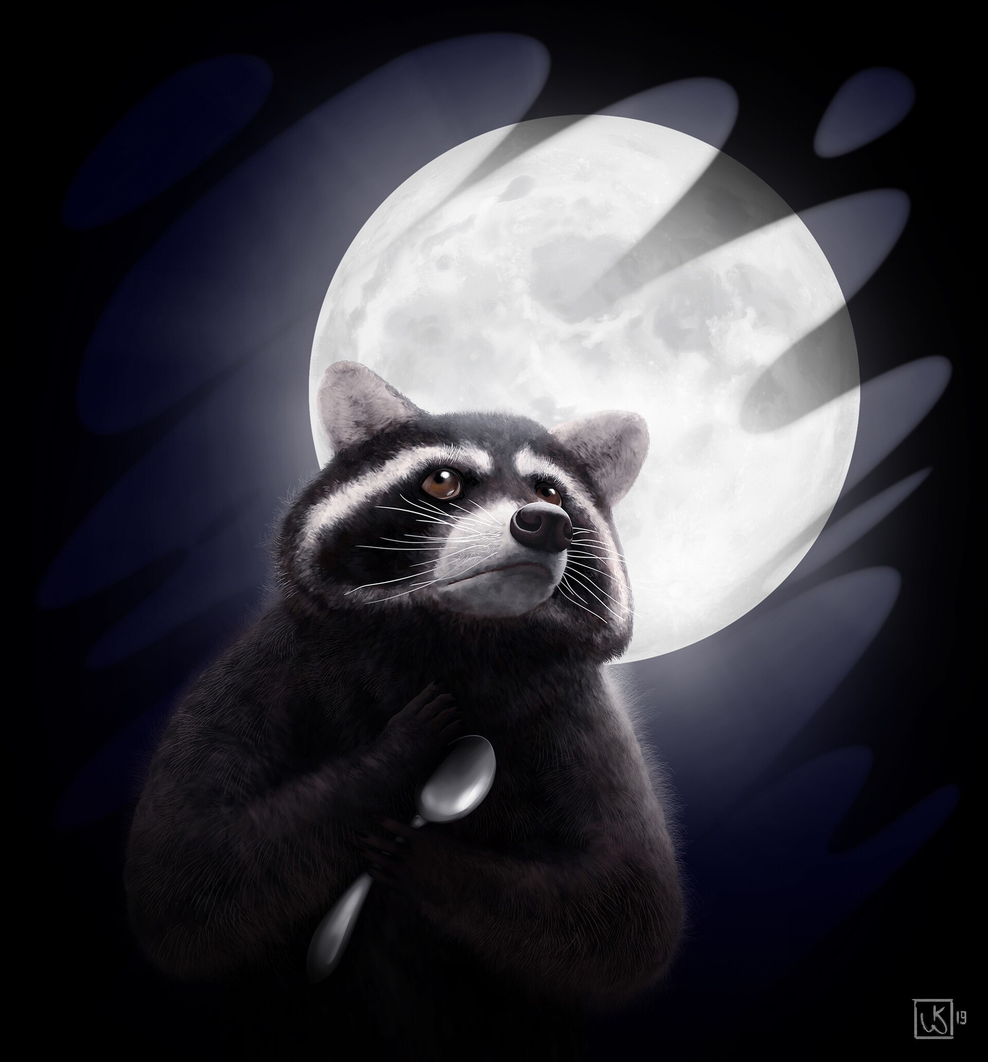117007 Заставки и Обои Луна на телефон. Скачать Луна, Арт, Забавный, Ложка, Енот картинки бесплатно