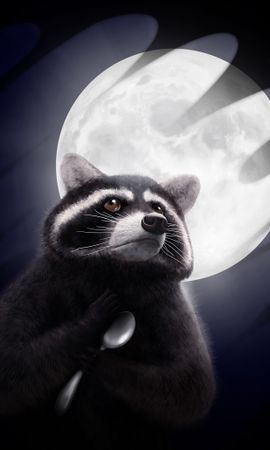 117007 Screensavers and Wallpapers Funny for phone. Download Raccoon, Moon, Spoon, Art, Funny pictures for free