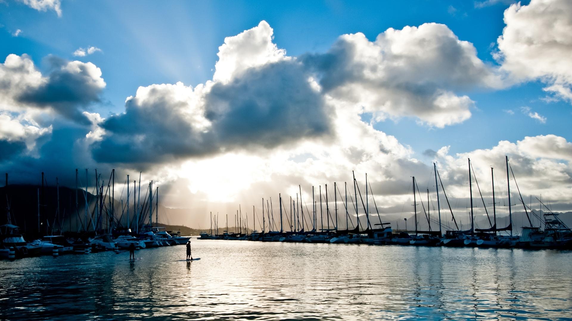 24936 скачать обои Пейзаж, Река, Облака, Яхты - заставки и картинки бесплатно