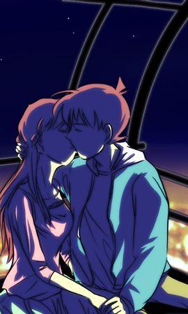 121691 скачать обои Пара, Поцелуй, Арт, Любовь, Аниме - заставки и картинки бесплатно