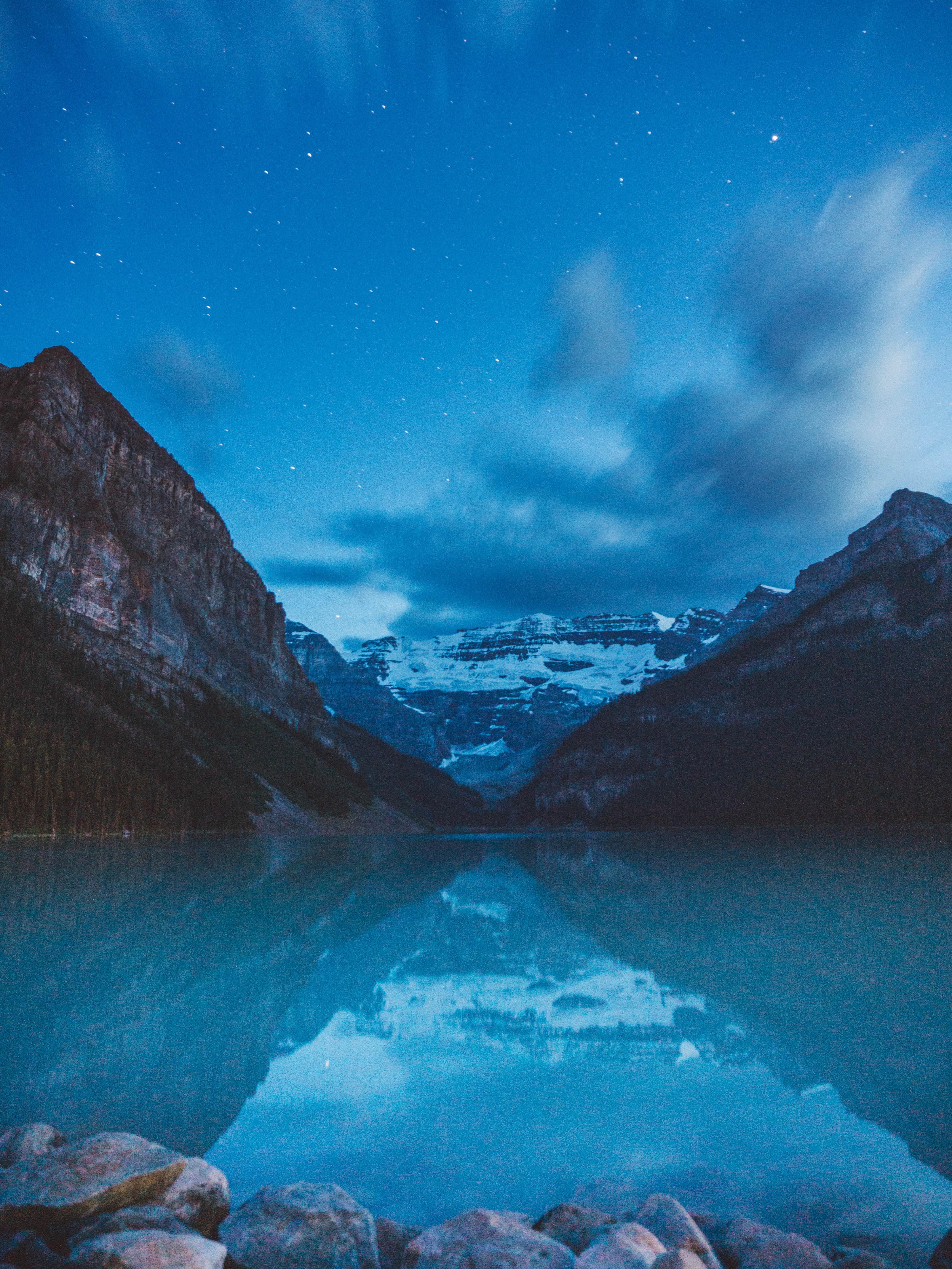80633 descargar fondo de pantalla Paisaje, Naturaleza, Montañas, Noche, Lago, Oscuro: protectores de pantalla e imágenes gratis