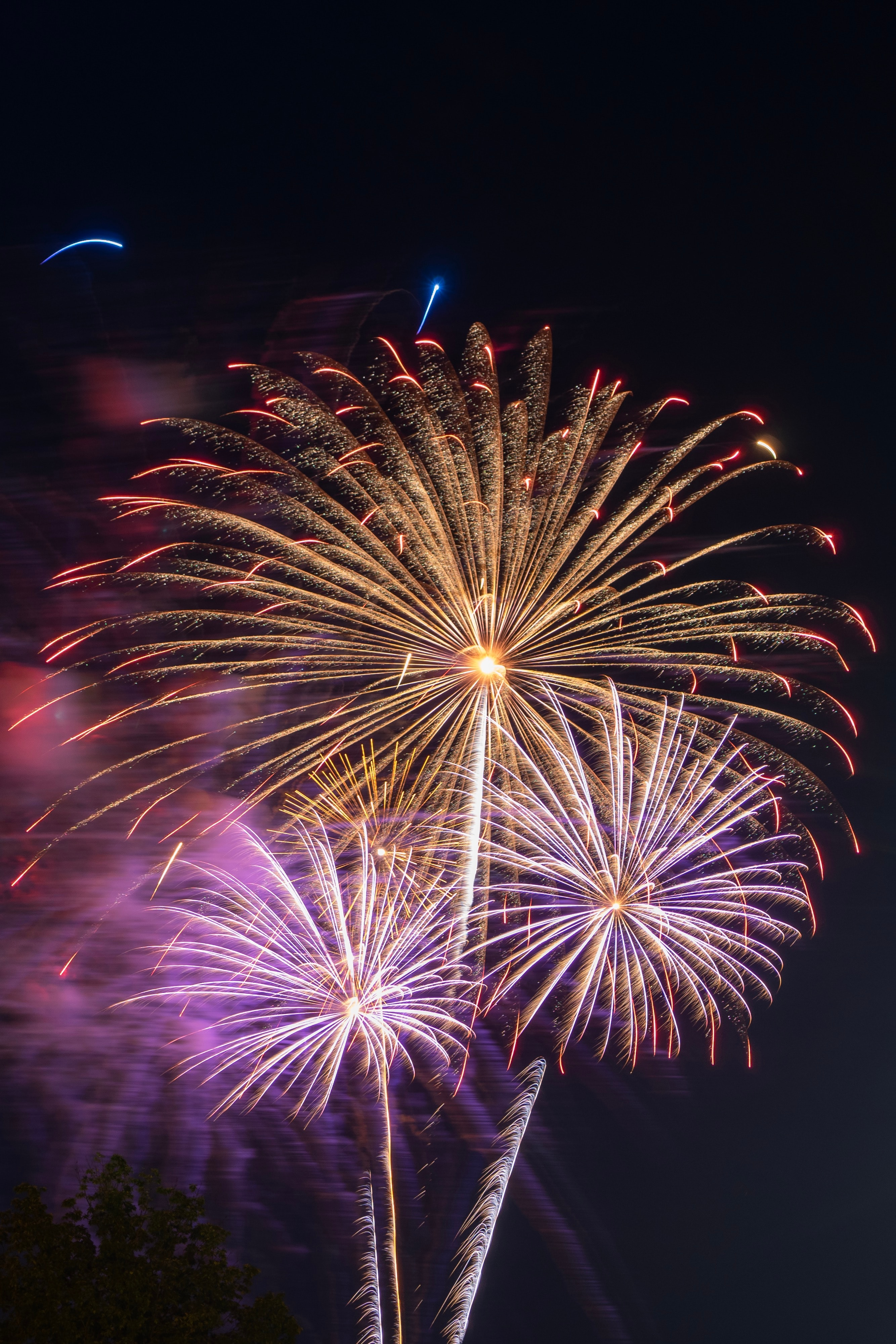 146290 Screensavers and Wallpapers Sparks for phone. Download Holidays, Smoke, Night, Salute, Sparks, Fireworks, Firework pictures for free