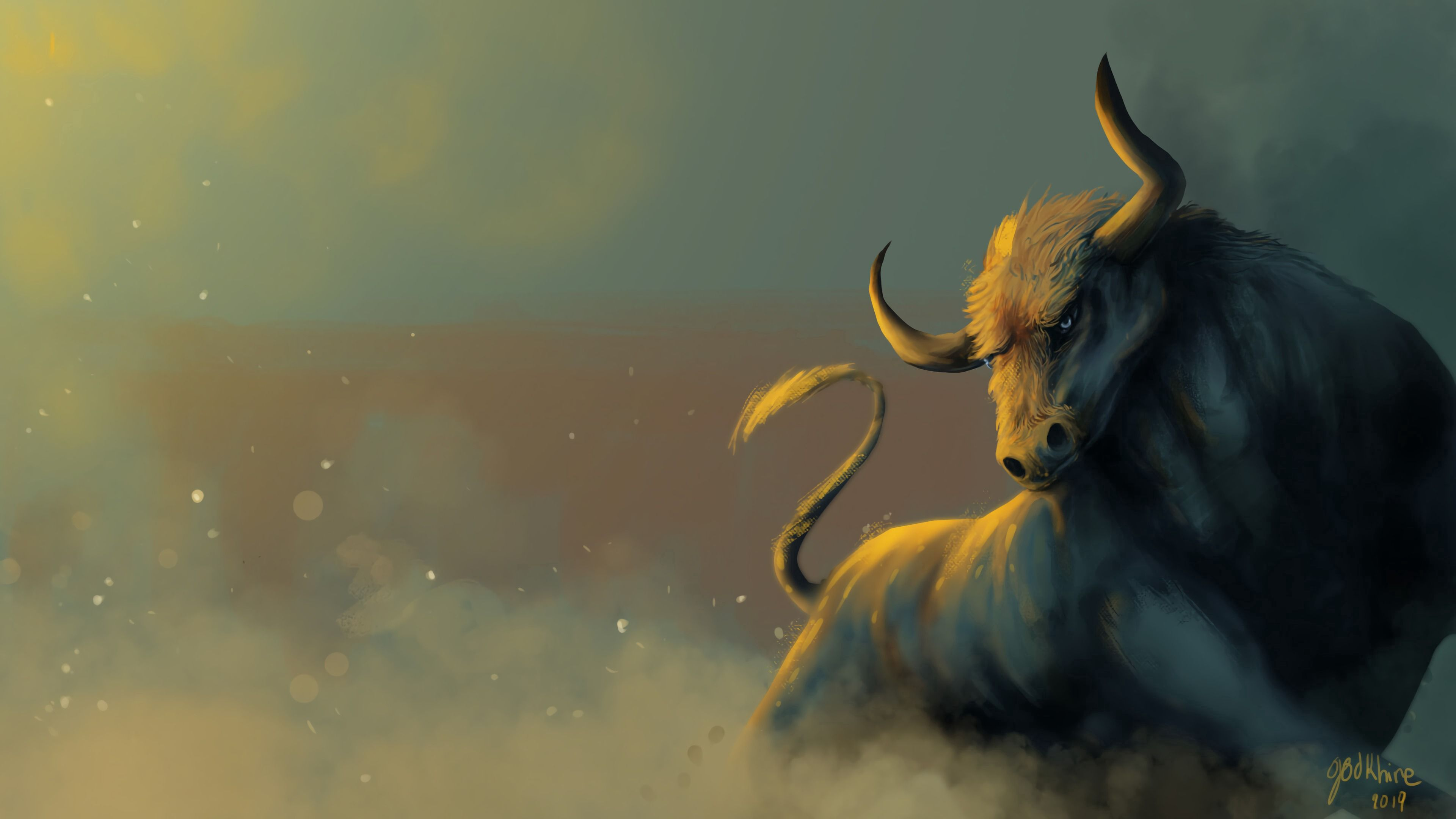 122900 download wallpaper Bull, Dust, Animal, Art screensavers and pictures for free