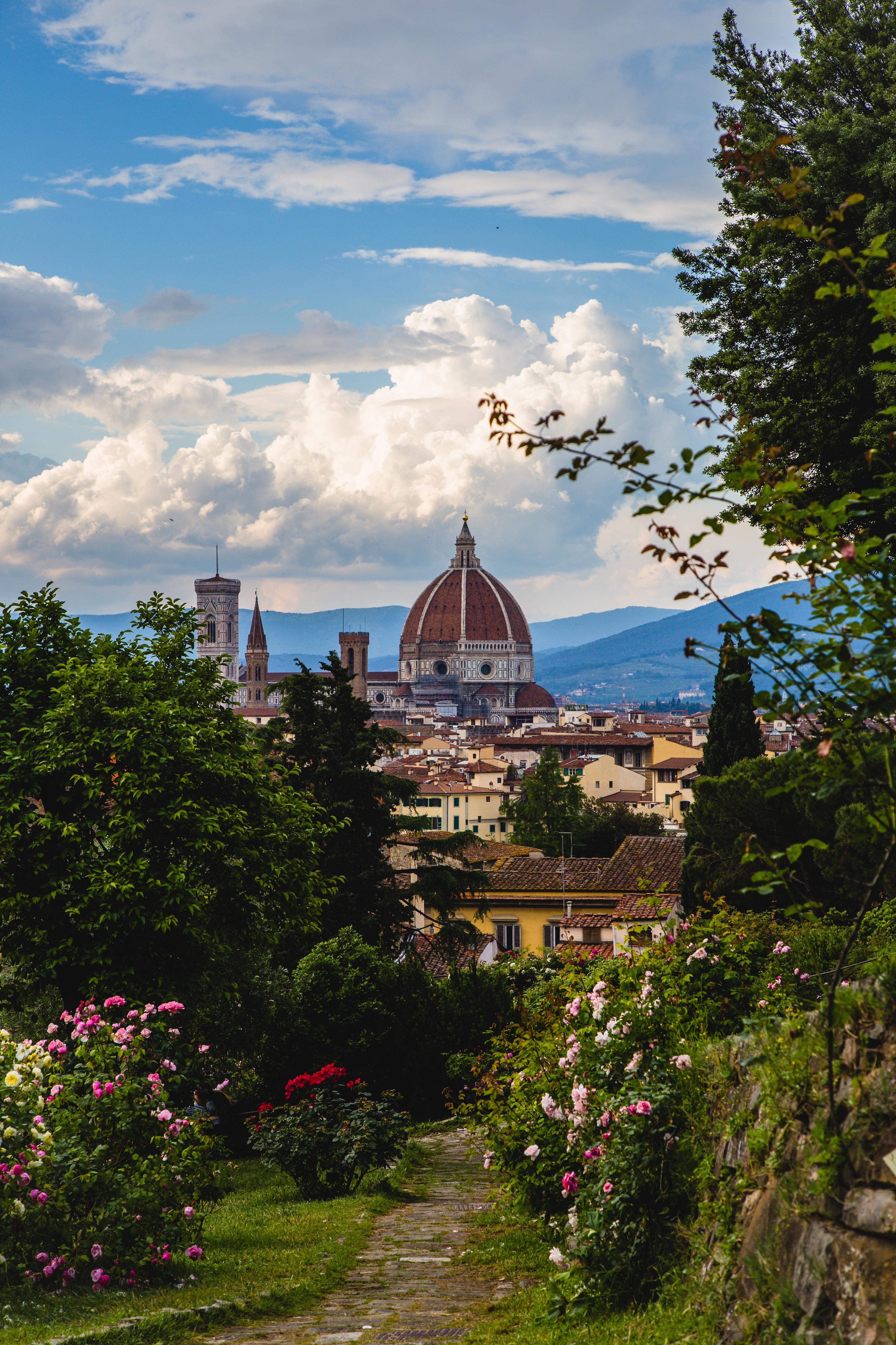 112274 скачать обои Архитектура, Флоренция, Италия, Города, Цветение, Сад, Строения - заставки и картинки бесплатно
