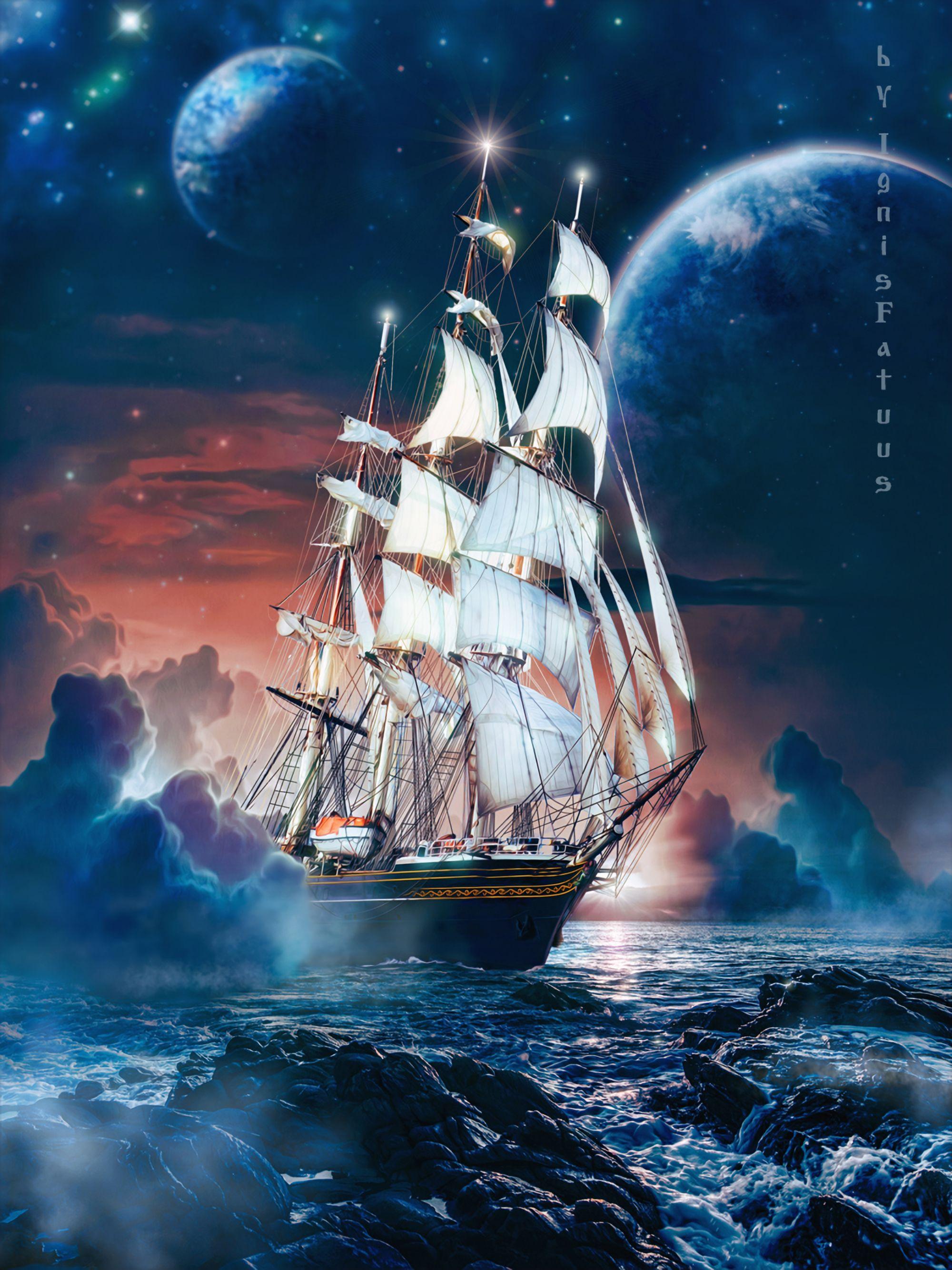137732 скачать обои Море, Арт, Камни, Корабль, Луна, Волны - заставки и картинки бесплатно