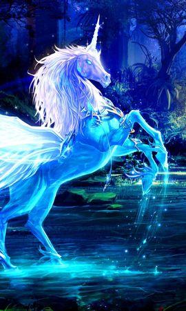 60816 baixar papel de parede Fantasia, Unicórnio, Água, Floresta, Noite, Magia - protetores de tela e imagens gratuitamente