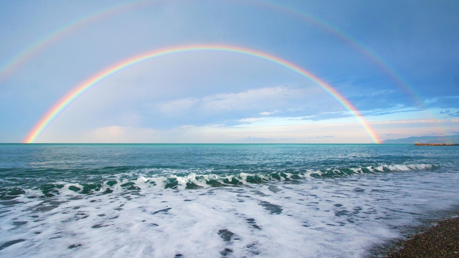 20709 скачать обои Пейзаж, Небо, Море, Радуга - заставки и картинки бесплатно