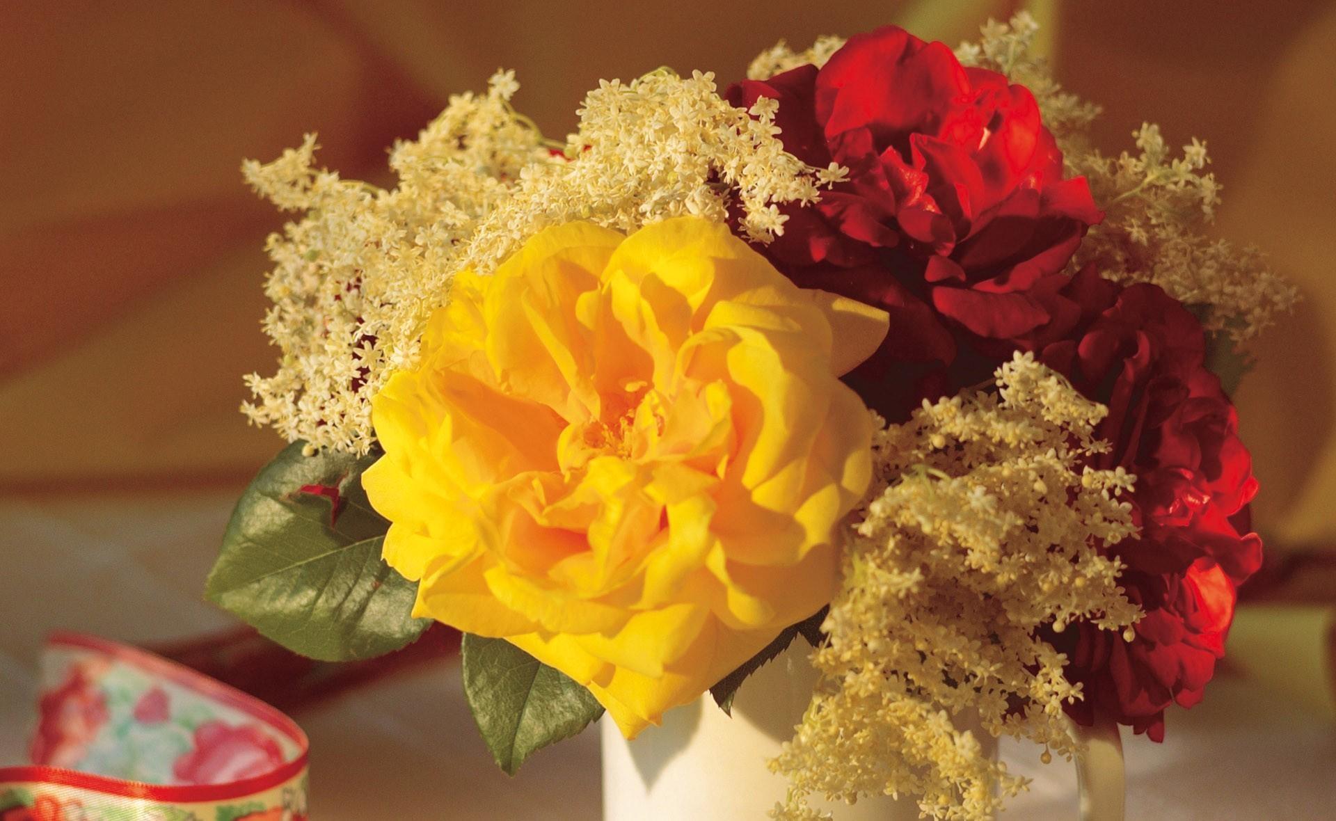 73958 скачать обои Цветы, Букет, Кружка, Крупный План, Розы - заставки и картинки бесплатно