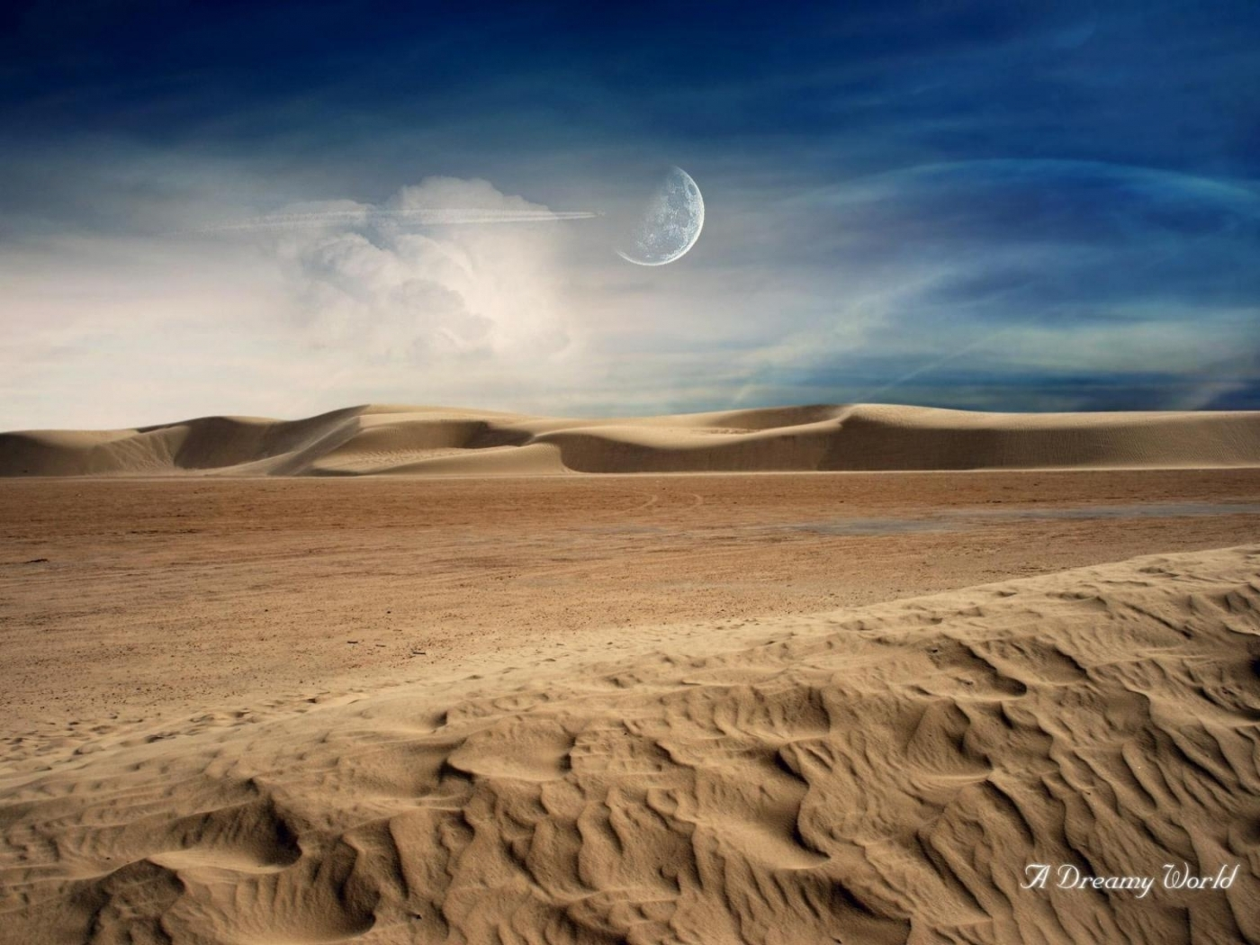 23671 download wallpaper Landscape, Clouds, Sand, Moon, Desert screensavers and pictures for free