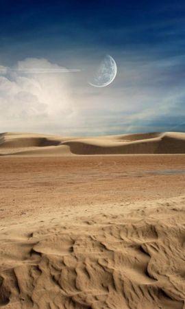 23671 скачать обои Пейзаж, Облака, Песок, Луна, Пустыня - заставки и картинки бесплатно