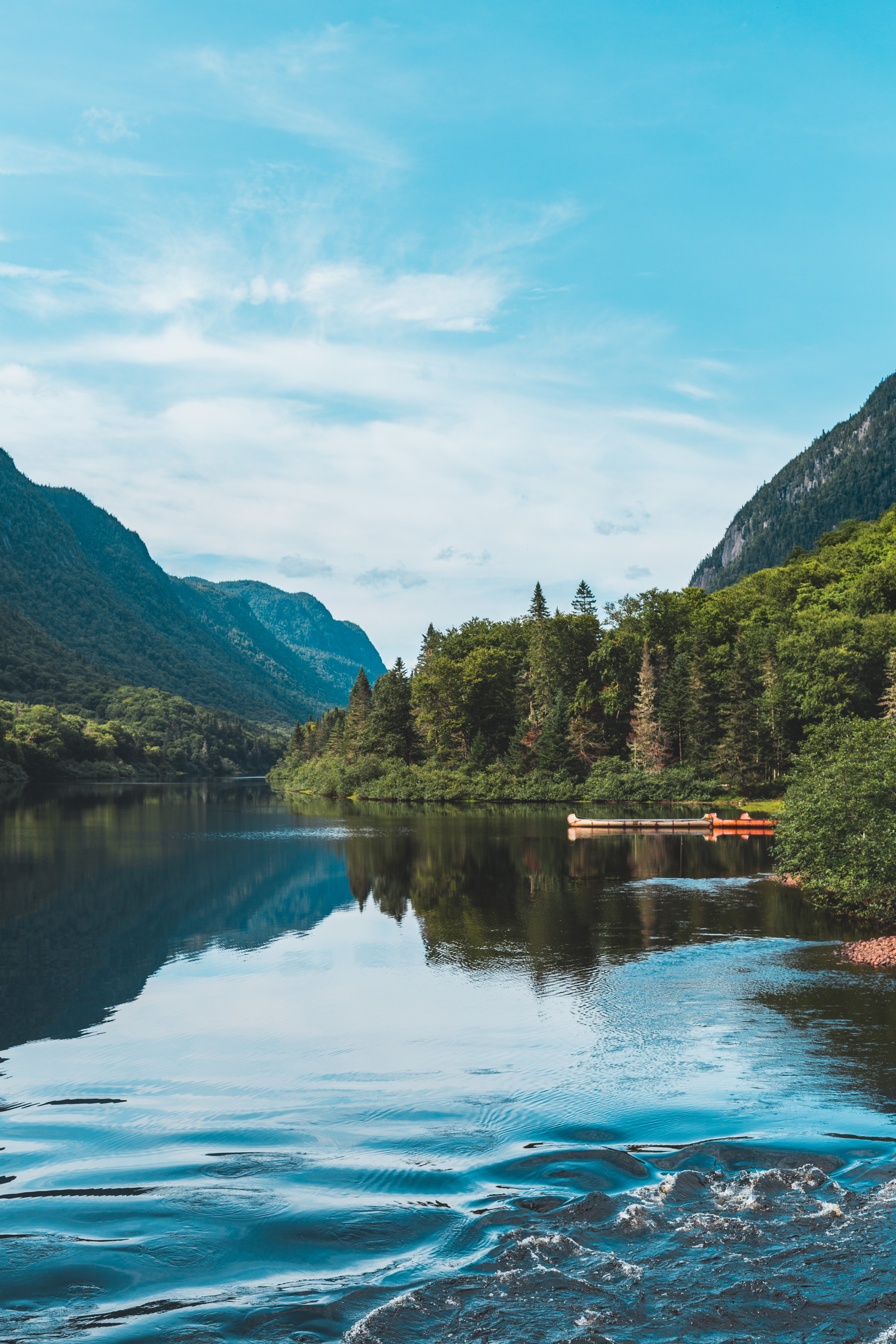 127168 download wallpaper Forest, Nature, Landscape, Trees, Mountains, Lake, Shore, Bank screensavers and pictures for free