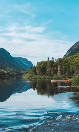 127168 скачать обои Природа, Озеро, Лес, Берег, Деревья, Горы, Пейзаж - заставки и картинки бесплатно