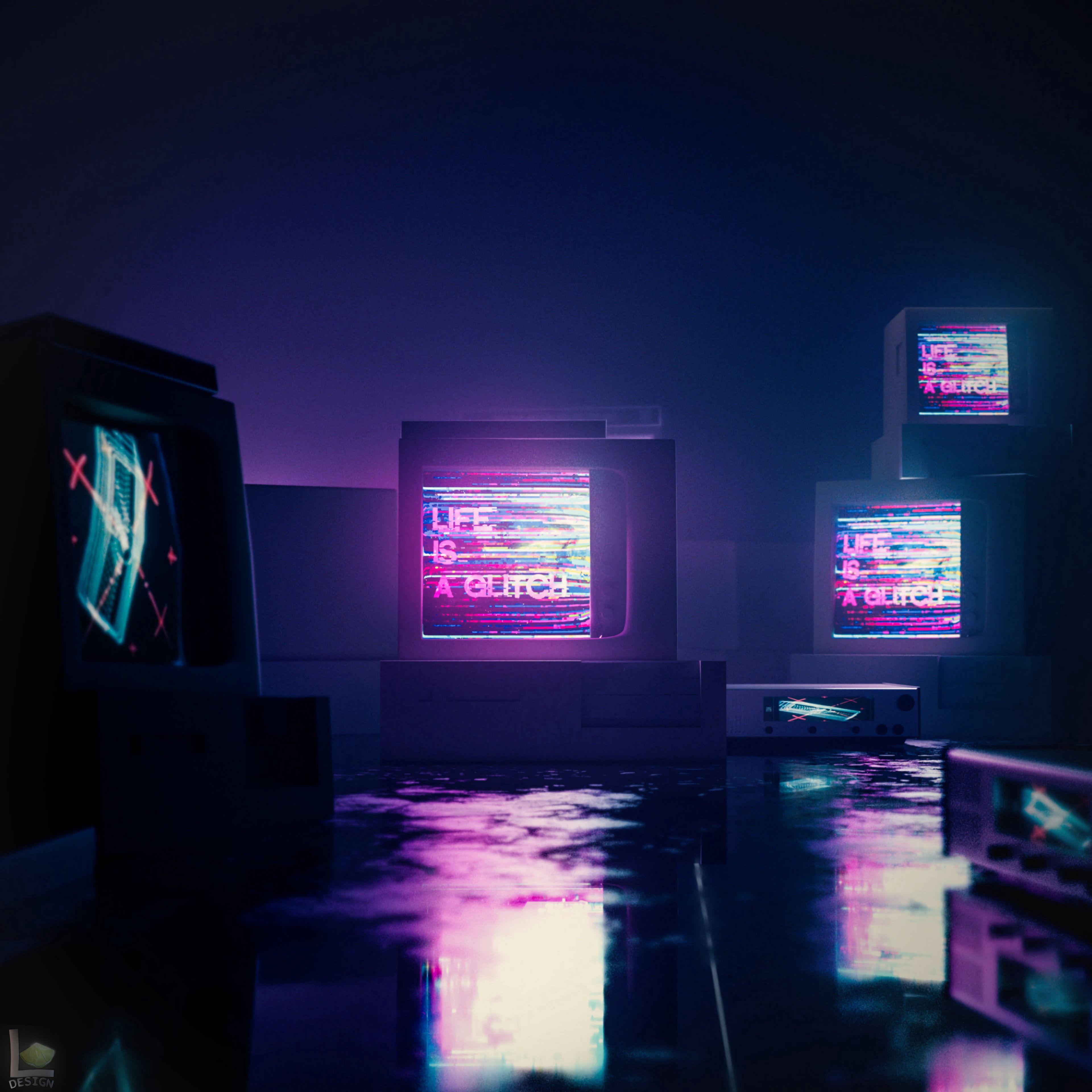 91302 Hintergrundbild herunterladen Kunst, Reflexion, Dunkelheit, Glühen, Glow, Panne, Glitch, Monitor - Bildschirmschoner und Bilder kostenlos