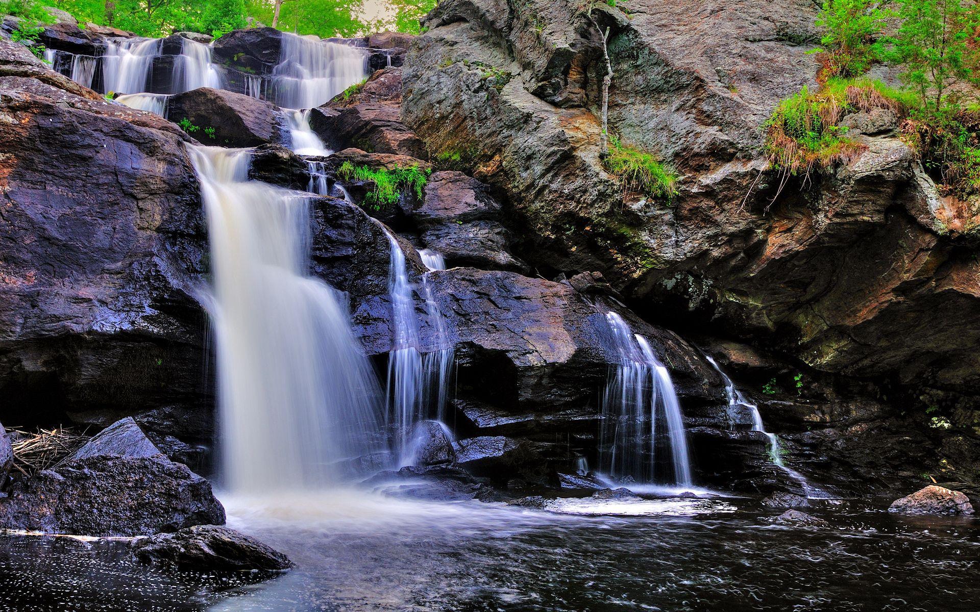 124667 скачать обои Река, Пейзаж, Природа, Скалы, Водопад - заставки и картинки бесплатно