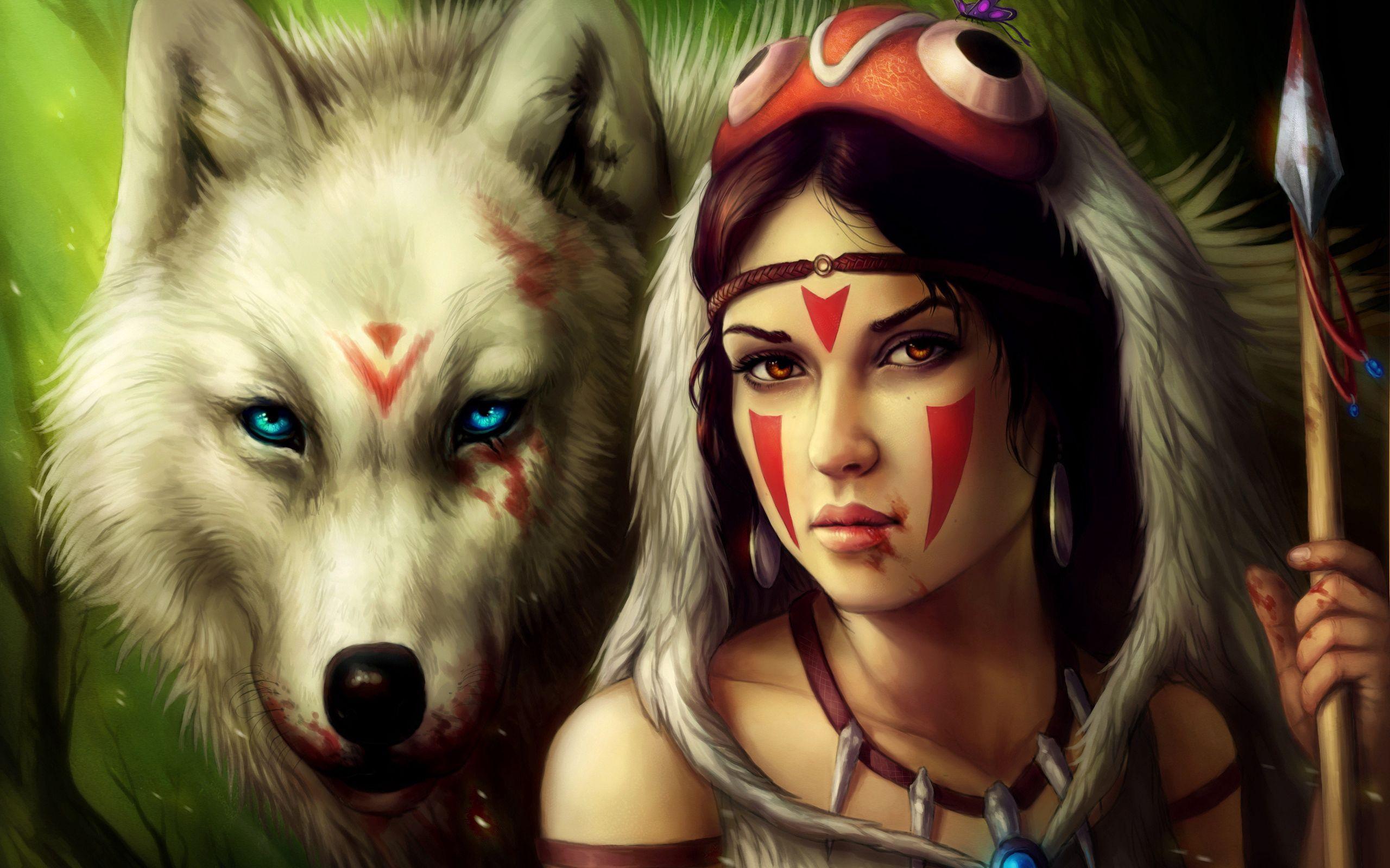 145808 Hintergrundbild herunterladen Fantasie, Mädchen, Wolf, Krieger, Ein Speer, Speer - Bildschirmschoner und Bilder kostenlos