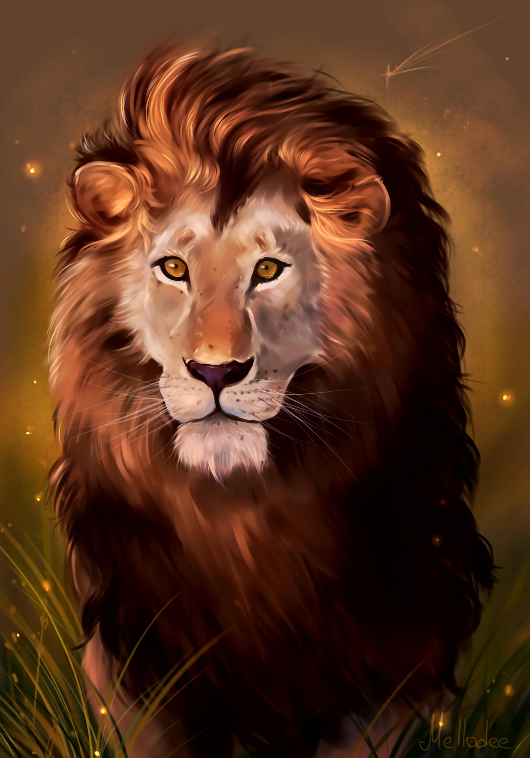 135973 baixar papel de parede Arte, Leão, Um Leão, Predator, Predador, Visão, Opinião, Rei Das Feras, Rei Das Bestas - protetores de tela e imagens gratuitamente