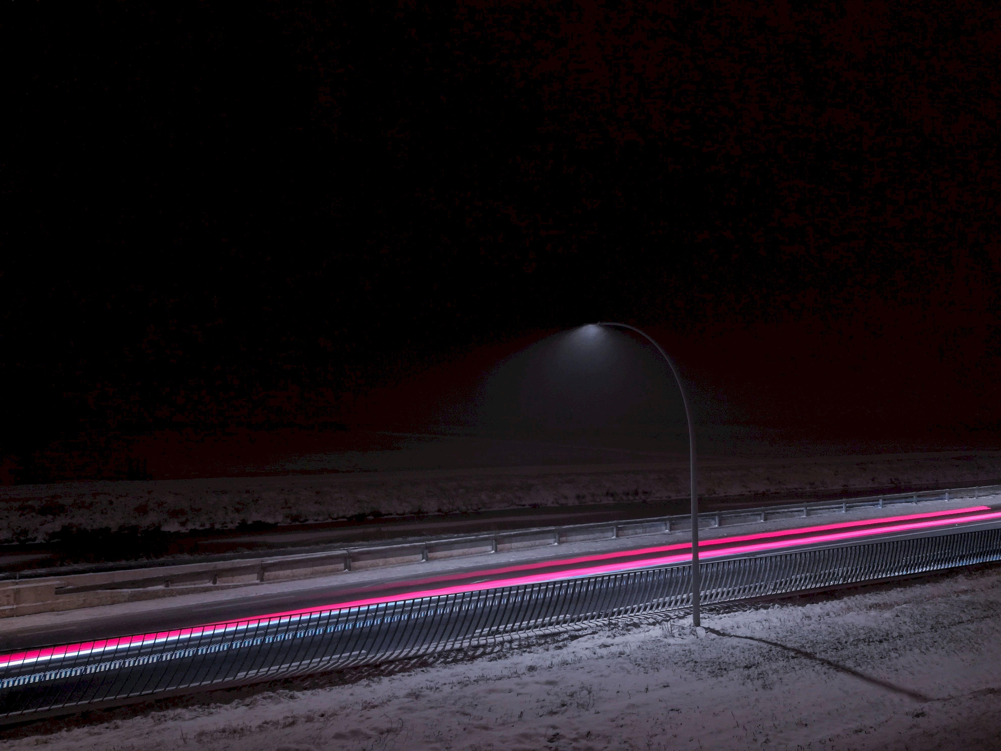 120301 download wallpaper Dark, Lamp, Lantern, Road, Long-Term Exposure, Snow screensavers and pictures for free