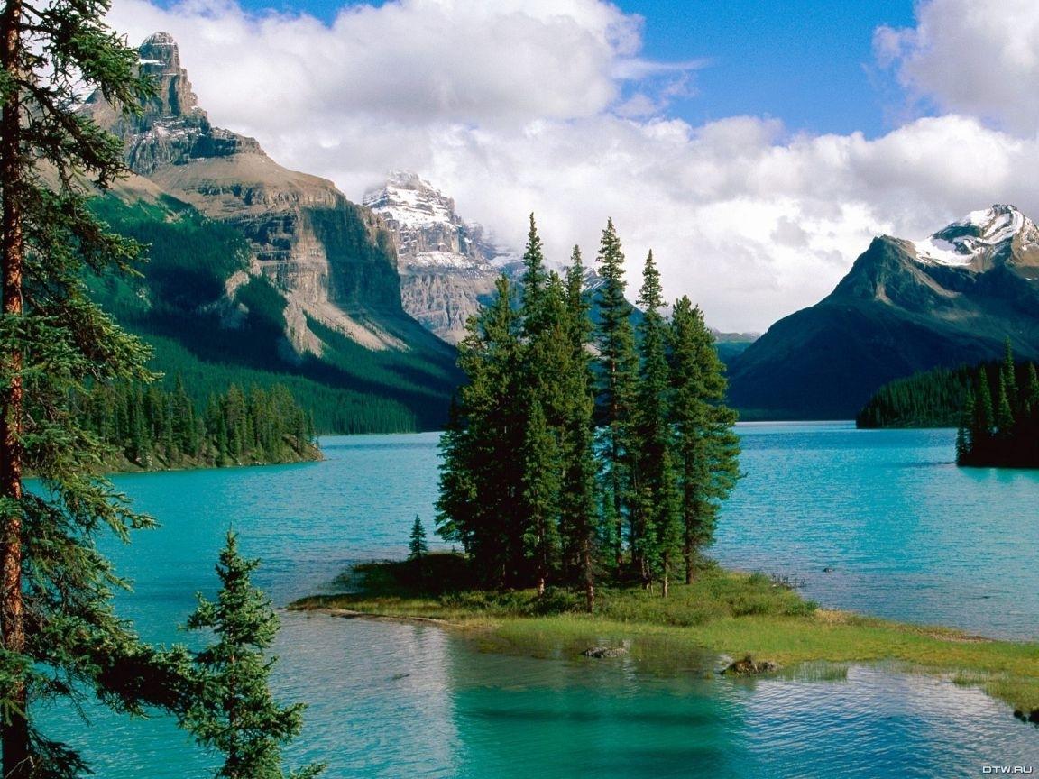 23534 скачать обои Пейзаж, Река, Деревья, Горы, Облака - заставки и картинки бесплатно