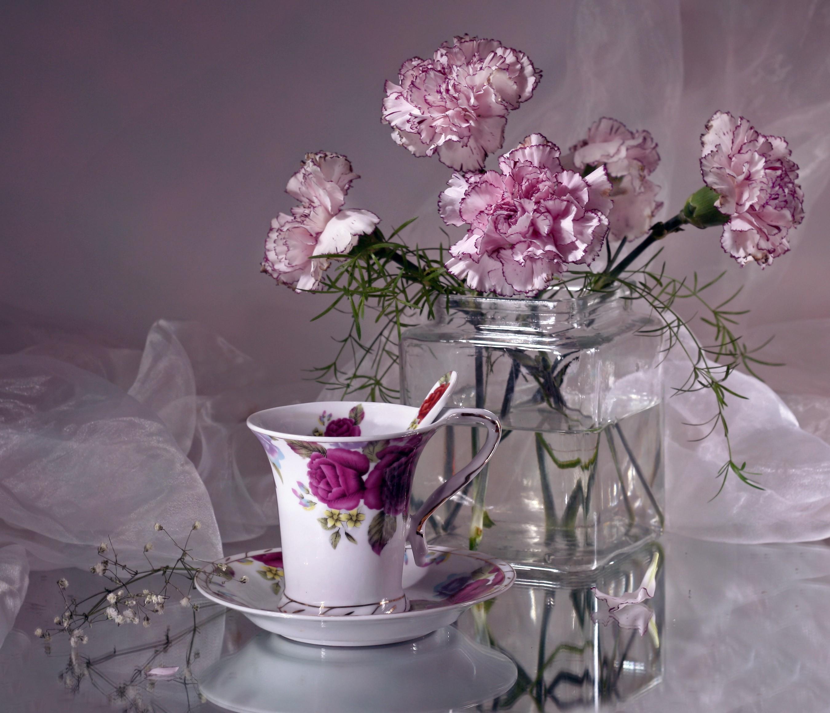 104639 Заставки и Обои Гвоздики на телефон. Скачать Цветы, Гвоздики, Ваза, Чайная Пара картинки бесплатно