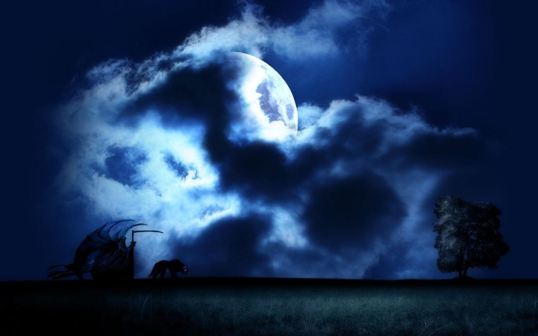 26233 скачать обои Фэнтези, Ночь, Луна - заставки и картинки бесплатно