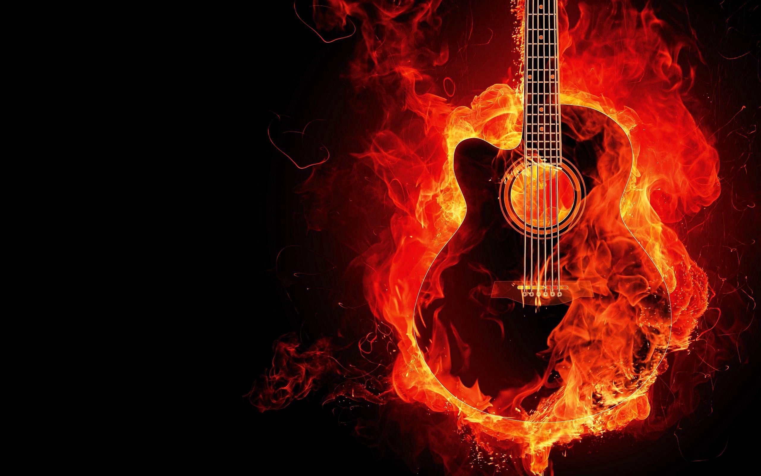 53372 Hintergrundbild herunterladen Musik, Feuer, Flamme, Gitarre, Photoshop - Bildschirmschoner und Bilder kostenlos