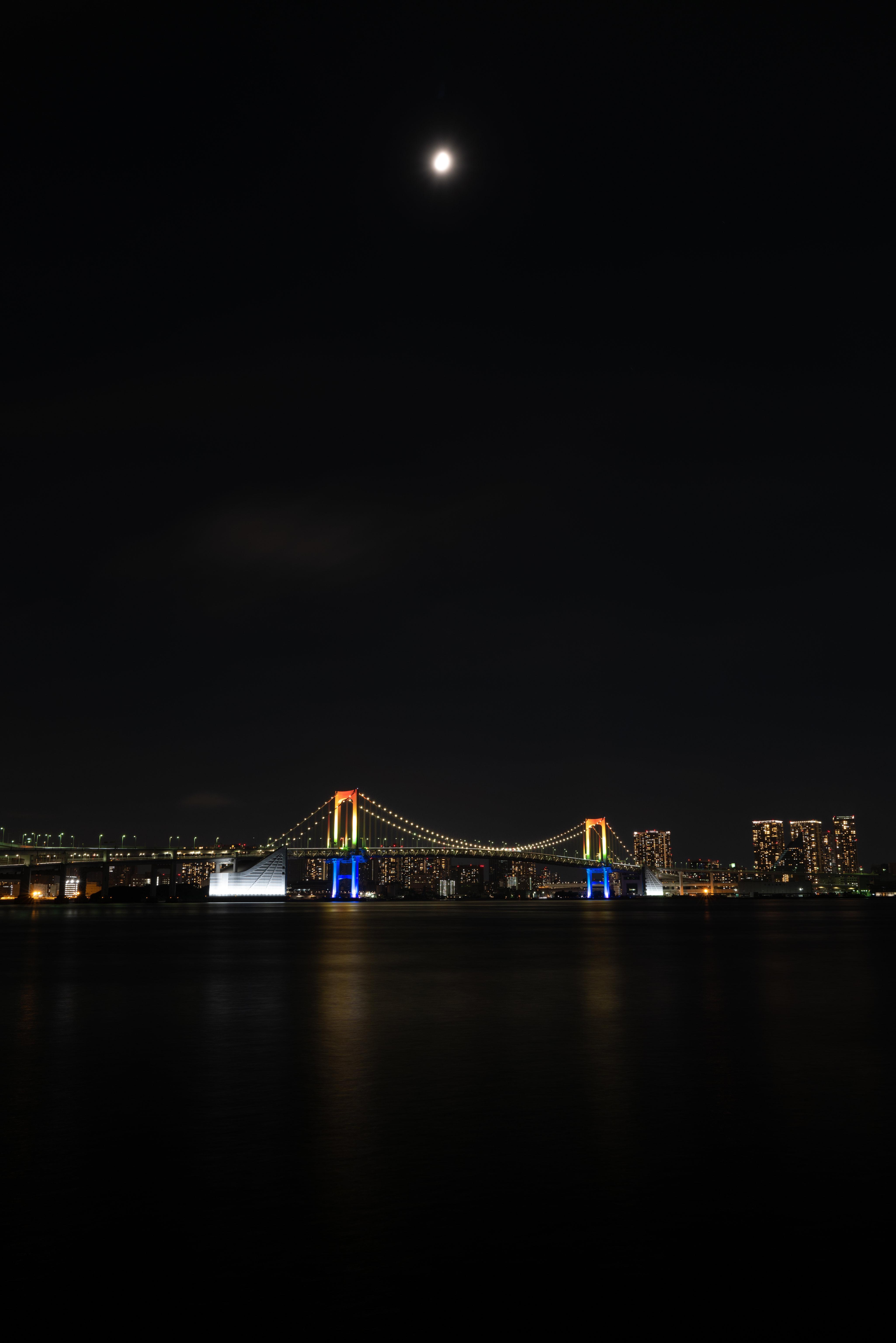 133727 免費下載壁紙 夜城, 桥, 灯光, 灯具, 月球, 水, 城市 屏保和圖片
