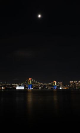 133727 télécharger le fond d'écran Ville De Nuit, Pont, Les Lumières, Lumières, Lune, Eau, Villes - économiseurs d'écran et images gratuitement
