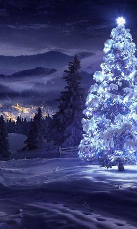 20128 скачать обои Праздники, Зима, Новый Год (New Year), Снег, Елки, Рождество (Christmas, Xmas), Рисунки - заставки и картинки бесплатно
