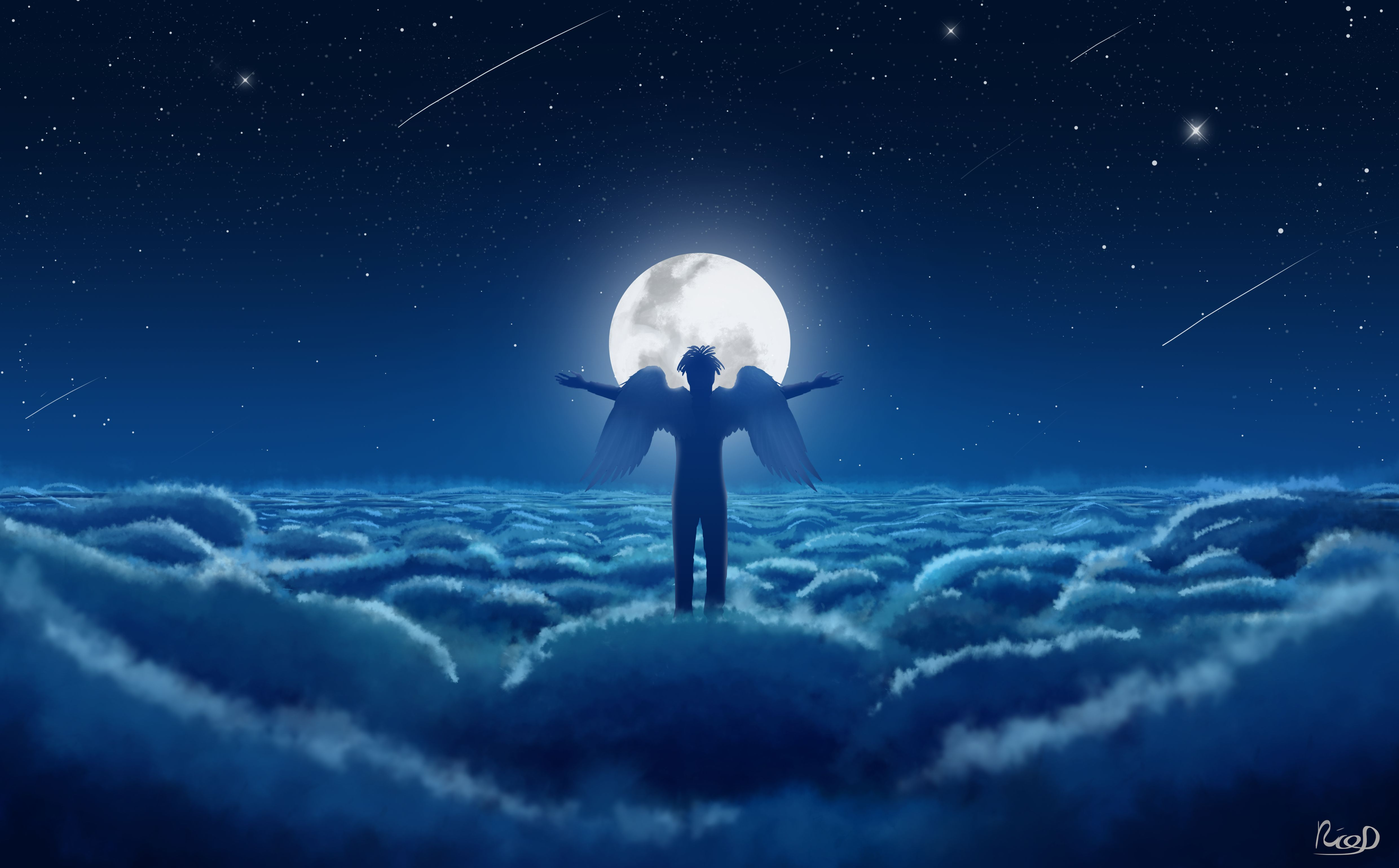 105922 Screensavers and Wallpapers Moon for phone. Download Art, Angel, Sky, Wings, Moon, Clouds pictures for free