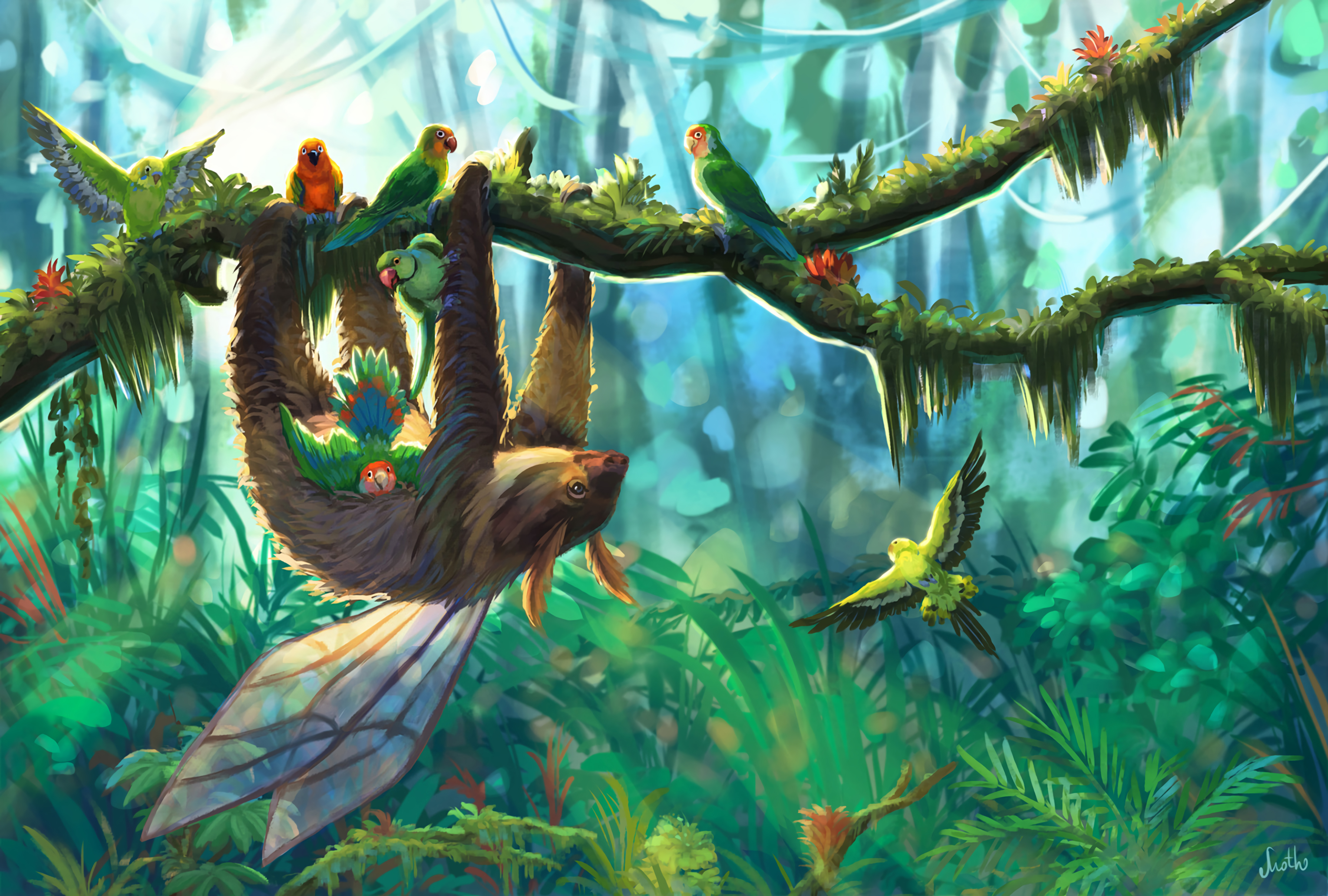 141690 Screensavers and Wallpapers Parrots for phone. Download Birds, Art, Parrots, Branch, Jungle, Sloth pictures for free