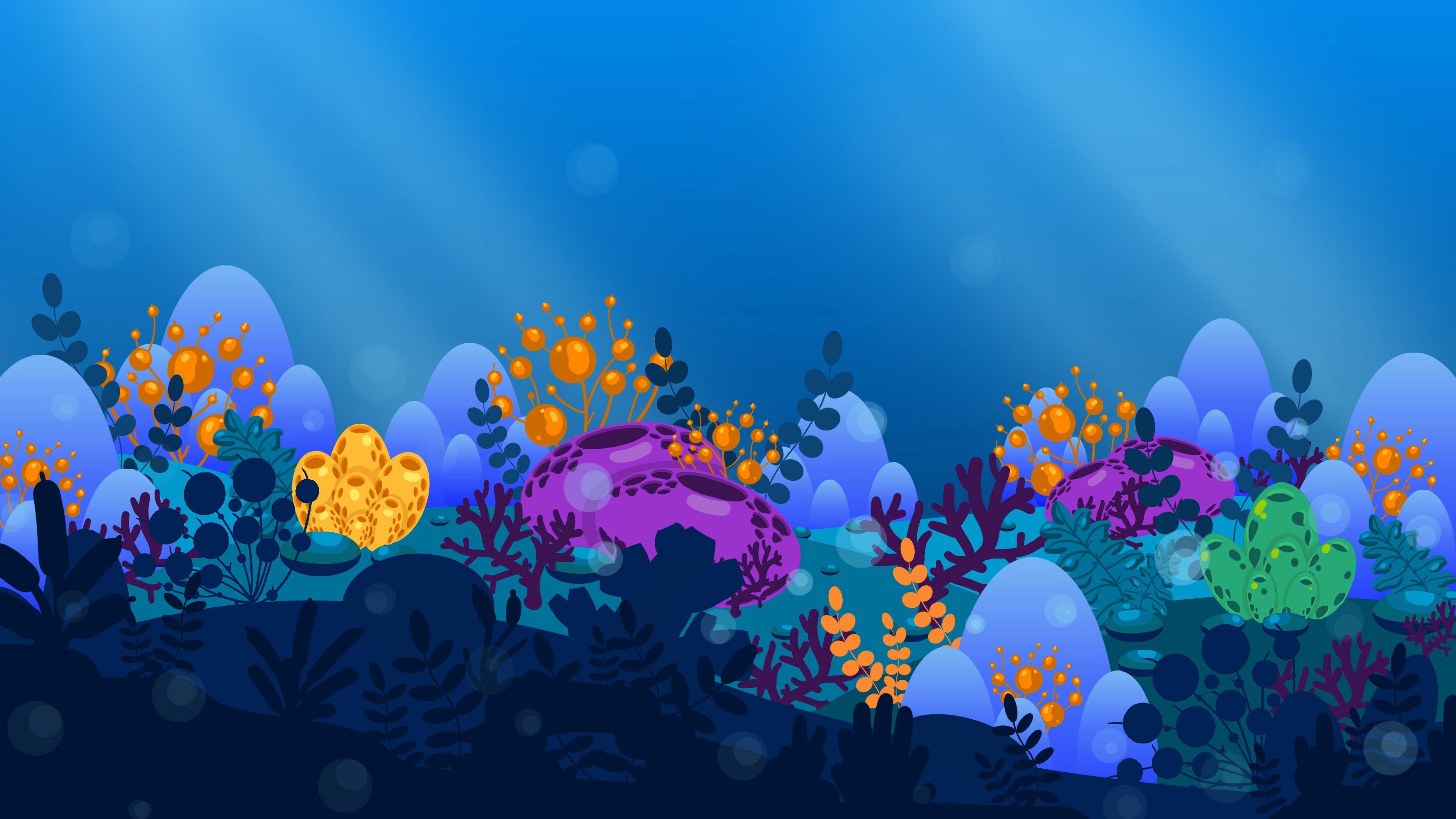 144407 download wallpaper Vector, Seaweed, Algae, Sea, Art screensavers and pictures for free