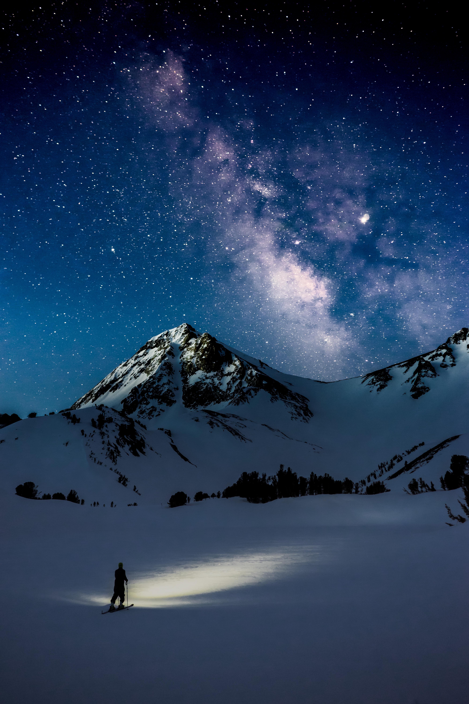 108357壁紙のダウンロード自然, ナイト, 星空, 天の川, 雪, 山脈-スクリーンセーバーと写真を無料で