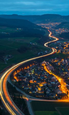91816 Screensavers and Wallpapers Roads for phone. Download Village, Roads, View From Above, Night, Switzerland, Mountains, Cities pictures for free