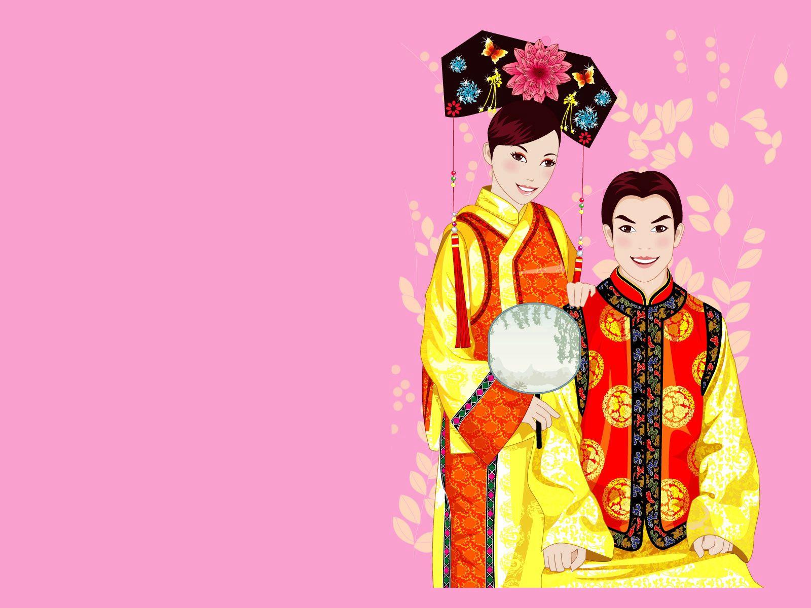127758壁紙のダウンロードベクター, ベクトル, 男, やつ, 女の子, 着物, コスチューム, 衣装, カップル, 双, 中国-スクリーンセーバーと写真を無料で