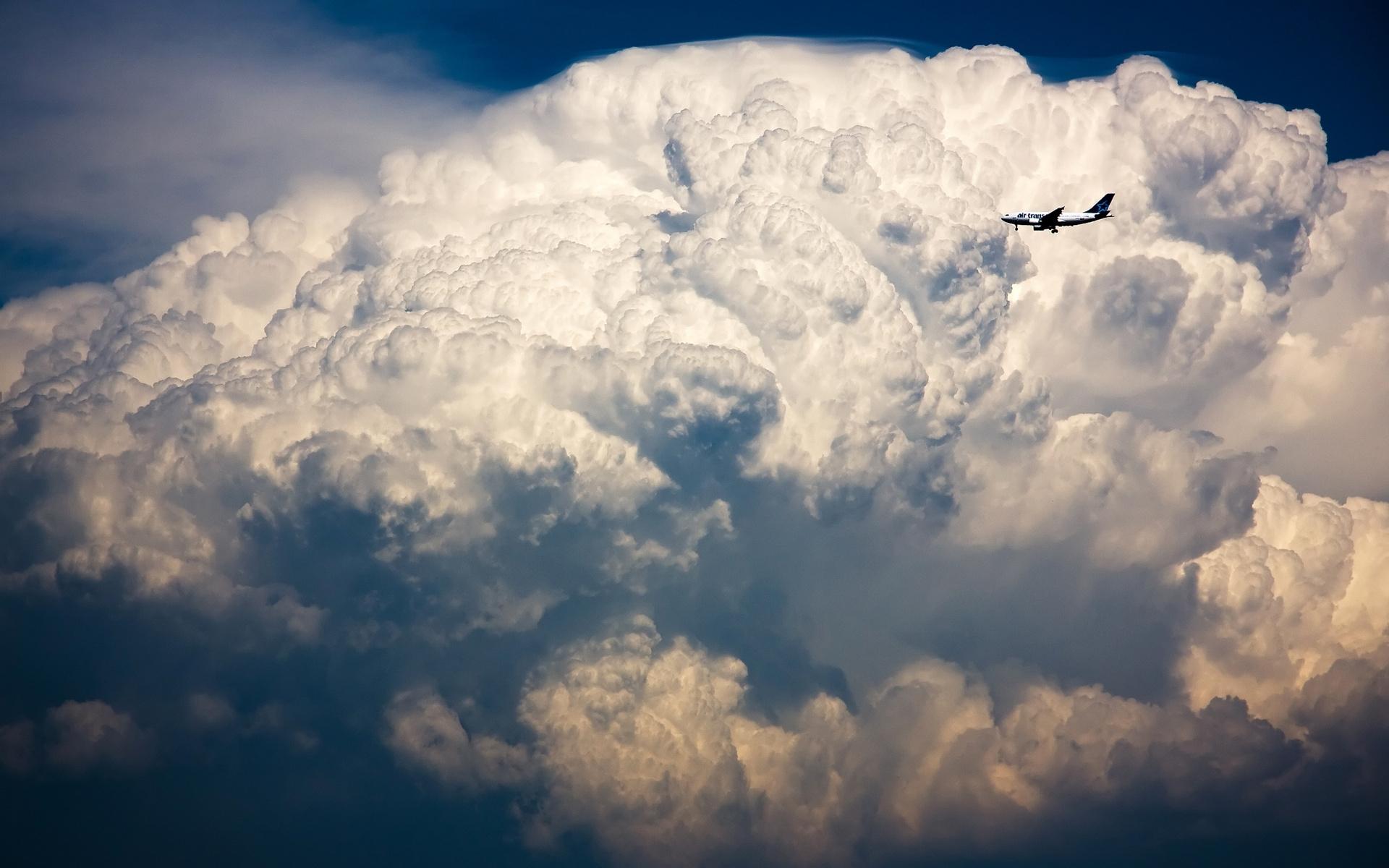 Скачать картинку Транспорт, Пейзаж, Облака, Самолеты в телефон бесплатно.