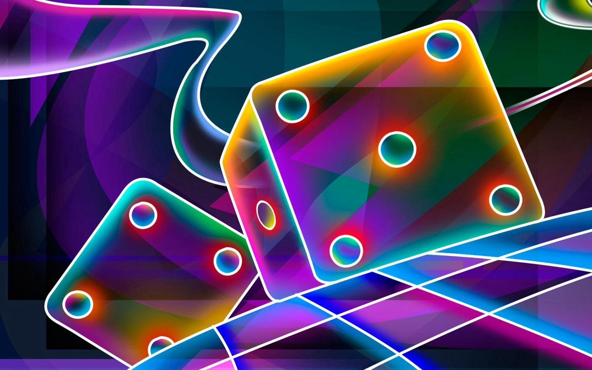 100392 free wallpaper 240x320 for phone, download images 3D, Abstract, Neon, Dice, Cube, Bones 240x320 for mobile