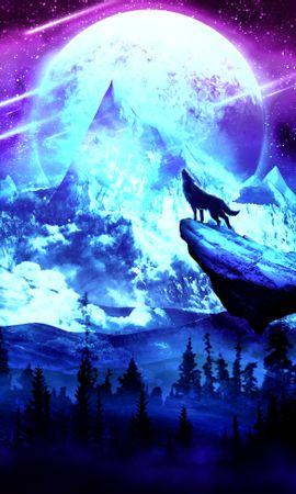 Baixar papel de parede gratuito 115898: papel de parede Lobo, Lua, Noite, Arte, Montanhas para telefone celular