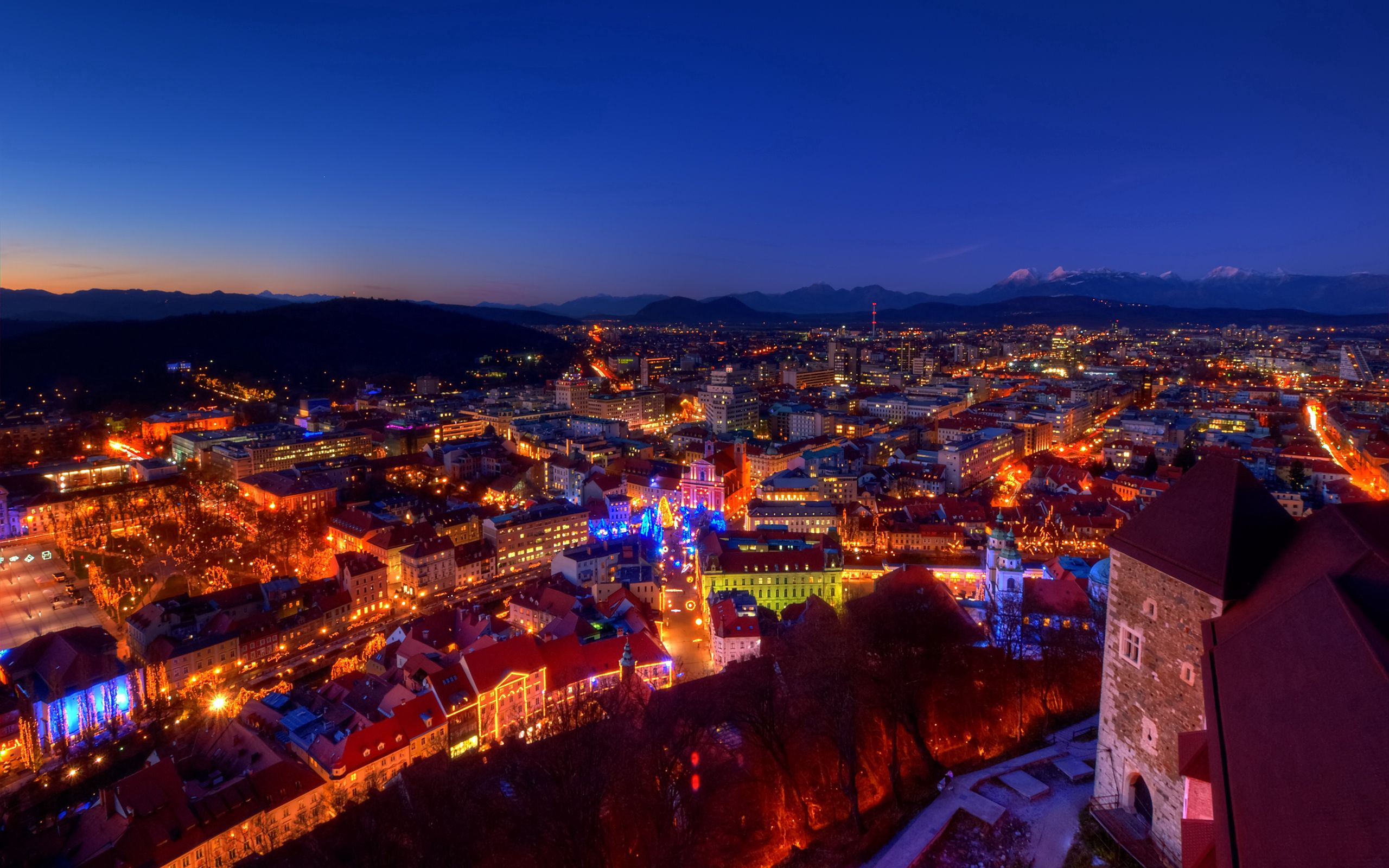 133739 Screensavers and Wallpapers Lock for phone. Download Cities, Houses, Mountains, Twilight, Lock, Lights, Christmas, Alps, Dusk, Evening, Slovenia pictures for free
