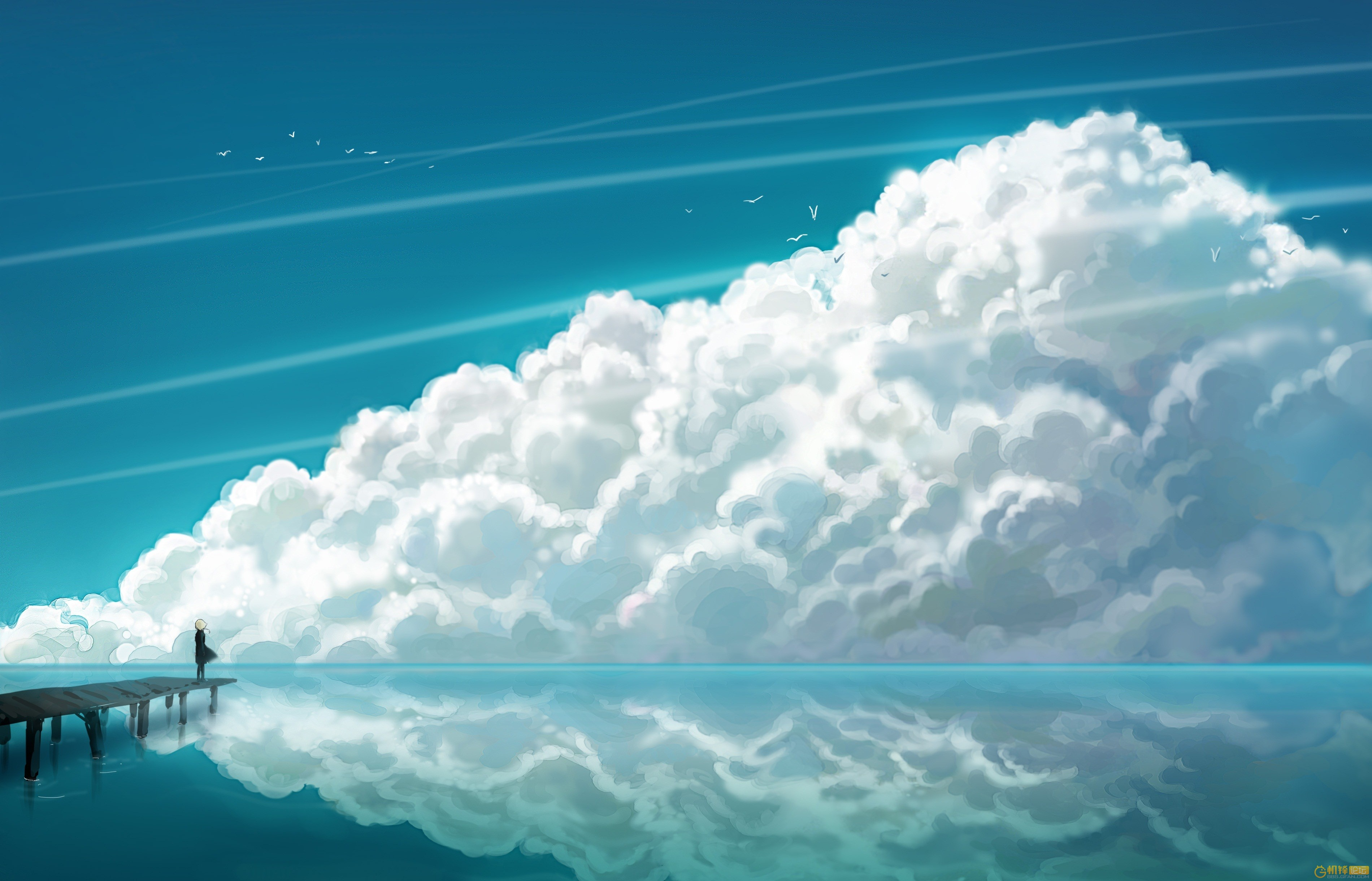 52122 download wallpaper Sky, Art, Sea, Clouds, Reflection, Bridge, Human, Person screensavers and pictures for free