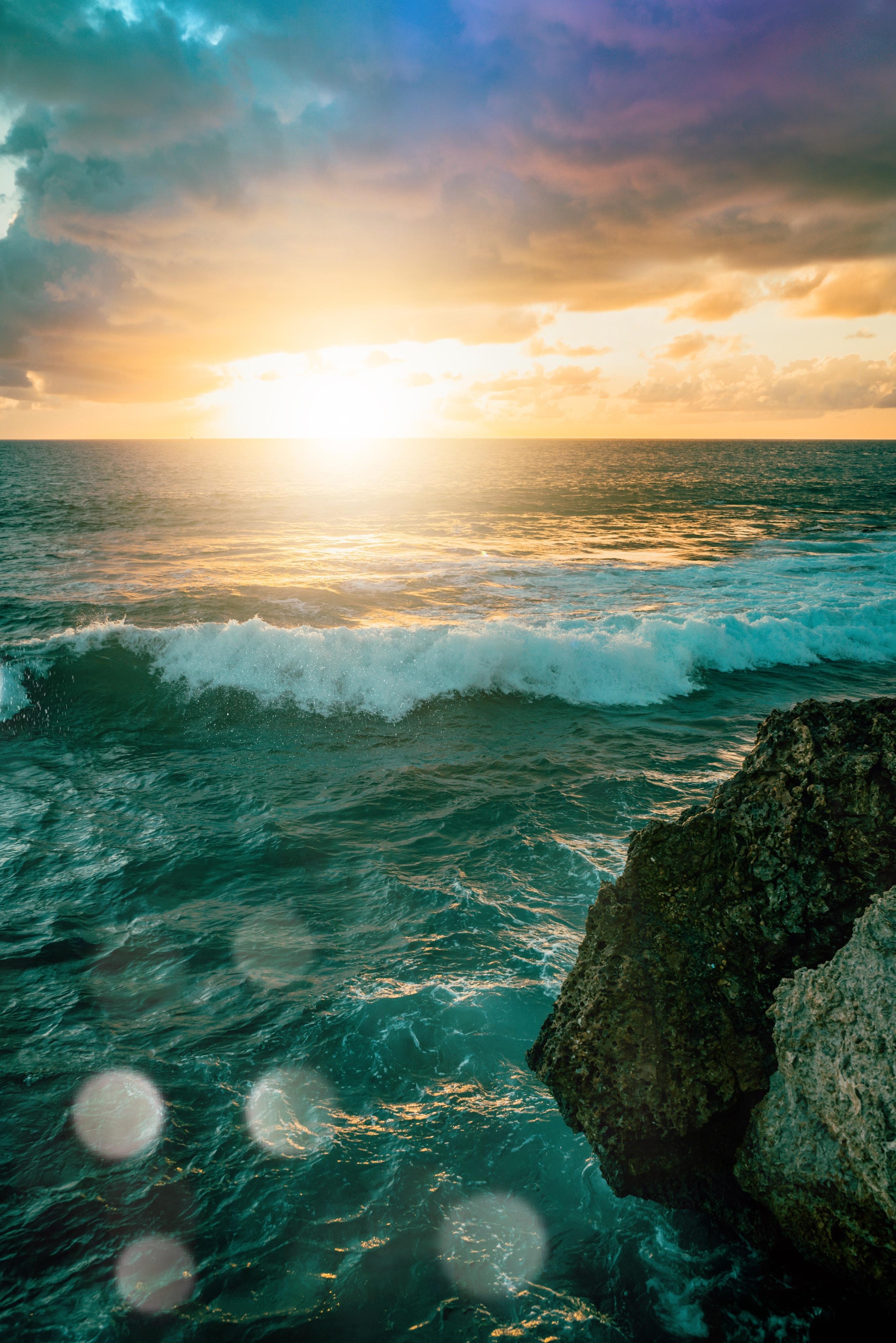 123596 Заставки и Обои Солнце на телефон. Скачать Солнце, Природа, Закат, Море, Волны, Свет картинки бесплатно