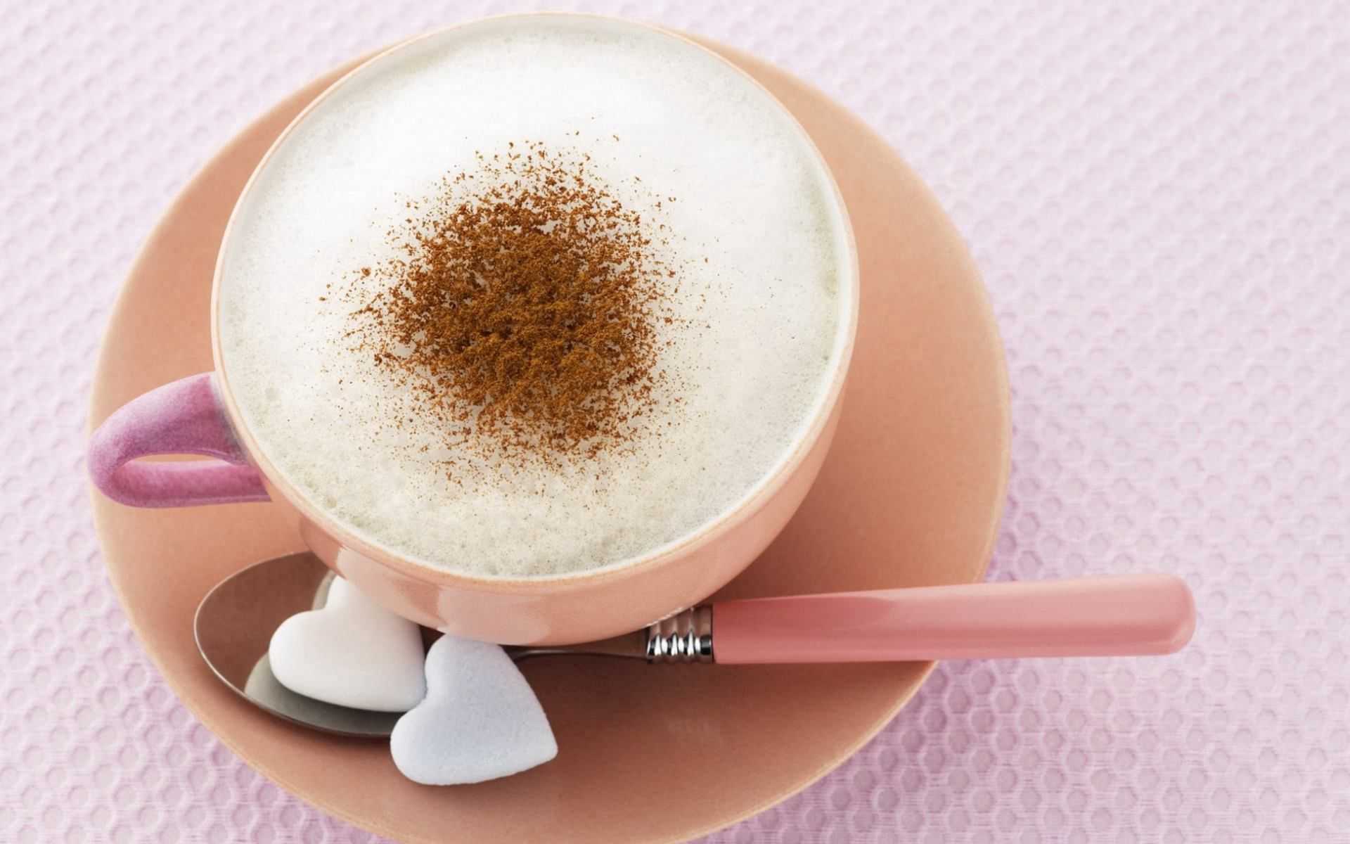 61181 download wallpaper Food, Coffee, Cappuccino, Foam, Meerschaum, Hearts, Sugar screensavers and pictures for free