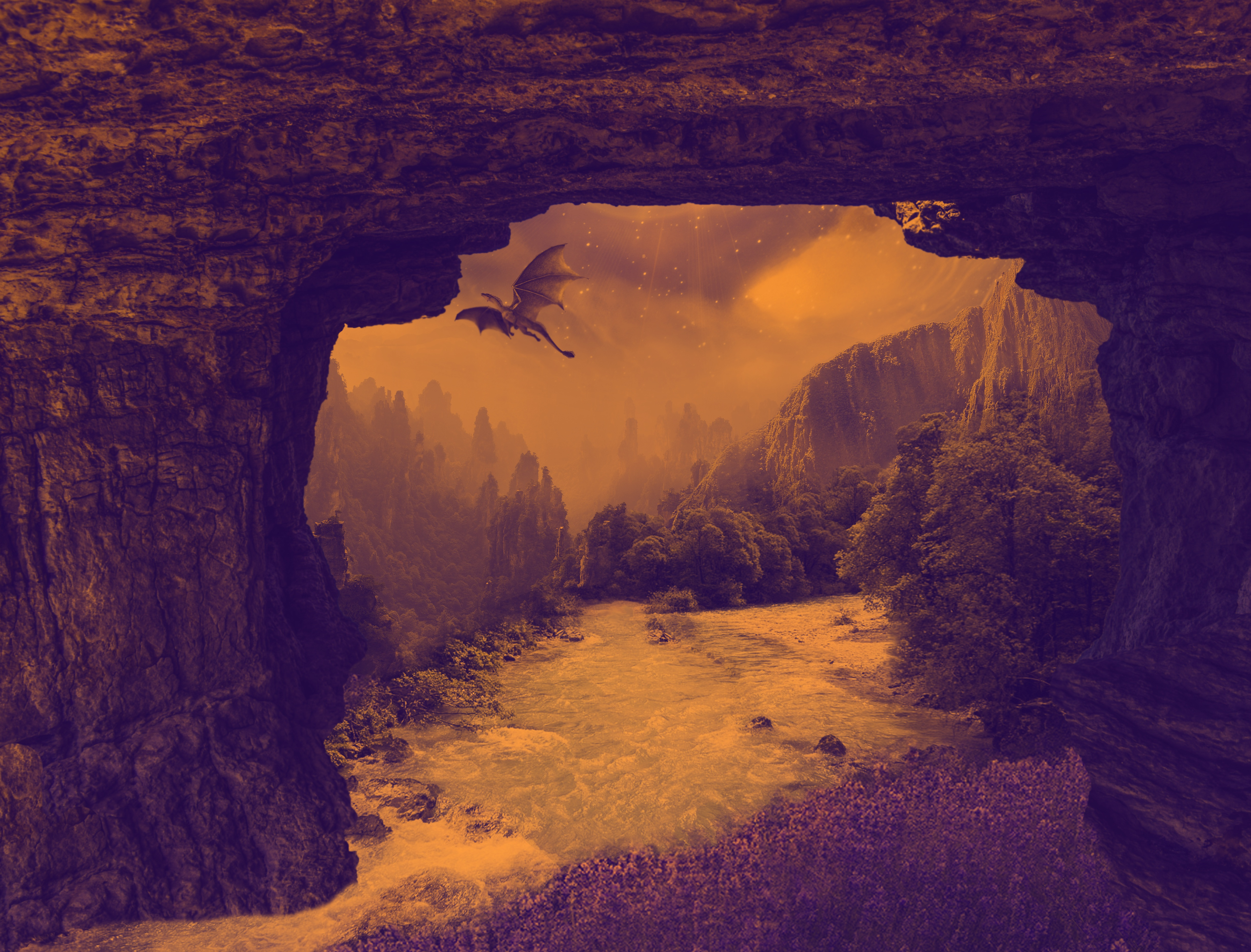 91105 download wallpaper Dragon, Mystical, Mystic, Fantasy, Waterfall, Rivers, Rocks screensavers and pictures for free