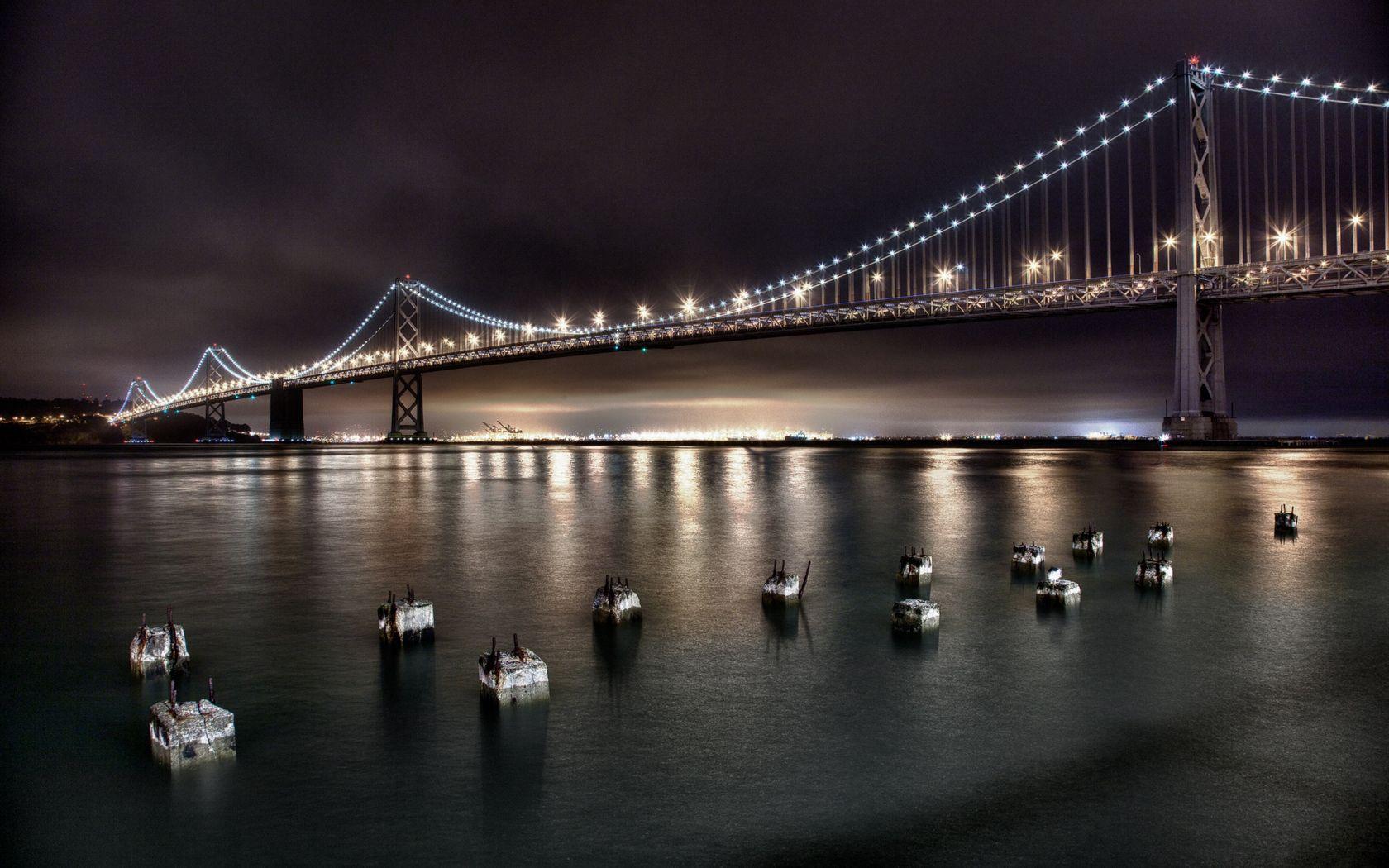 75810 скачать обои Сан-Фрациско, Мост, Золотые, Ворота, Ночь, Небо, Вода, Огни, Свет, Города - заставки и картинки бесплатно